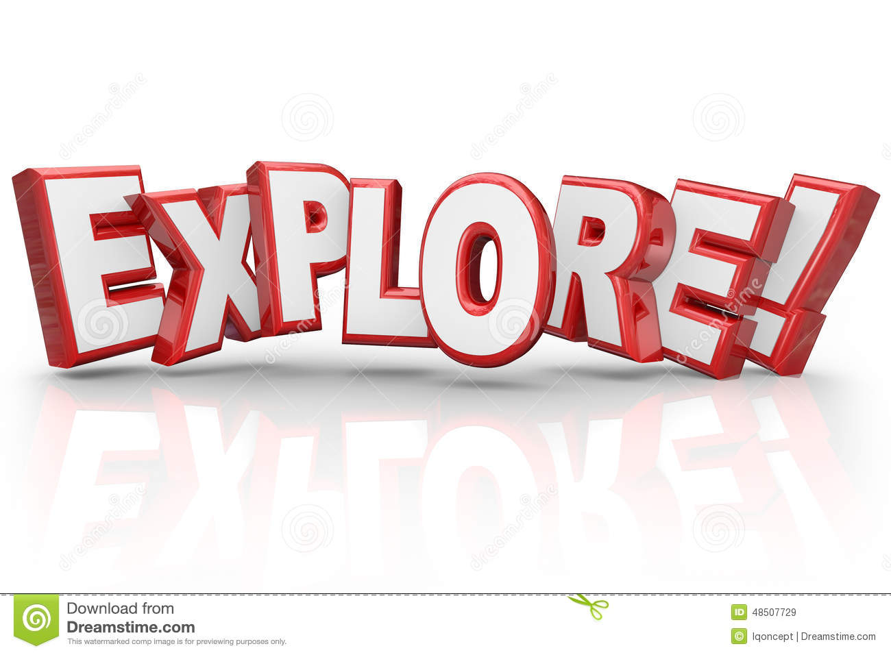 explore 3d word curious adventure inspection examination