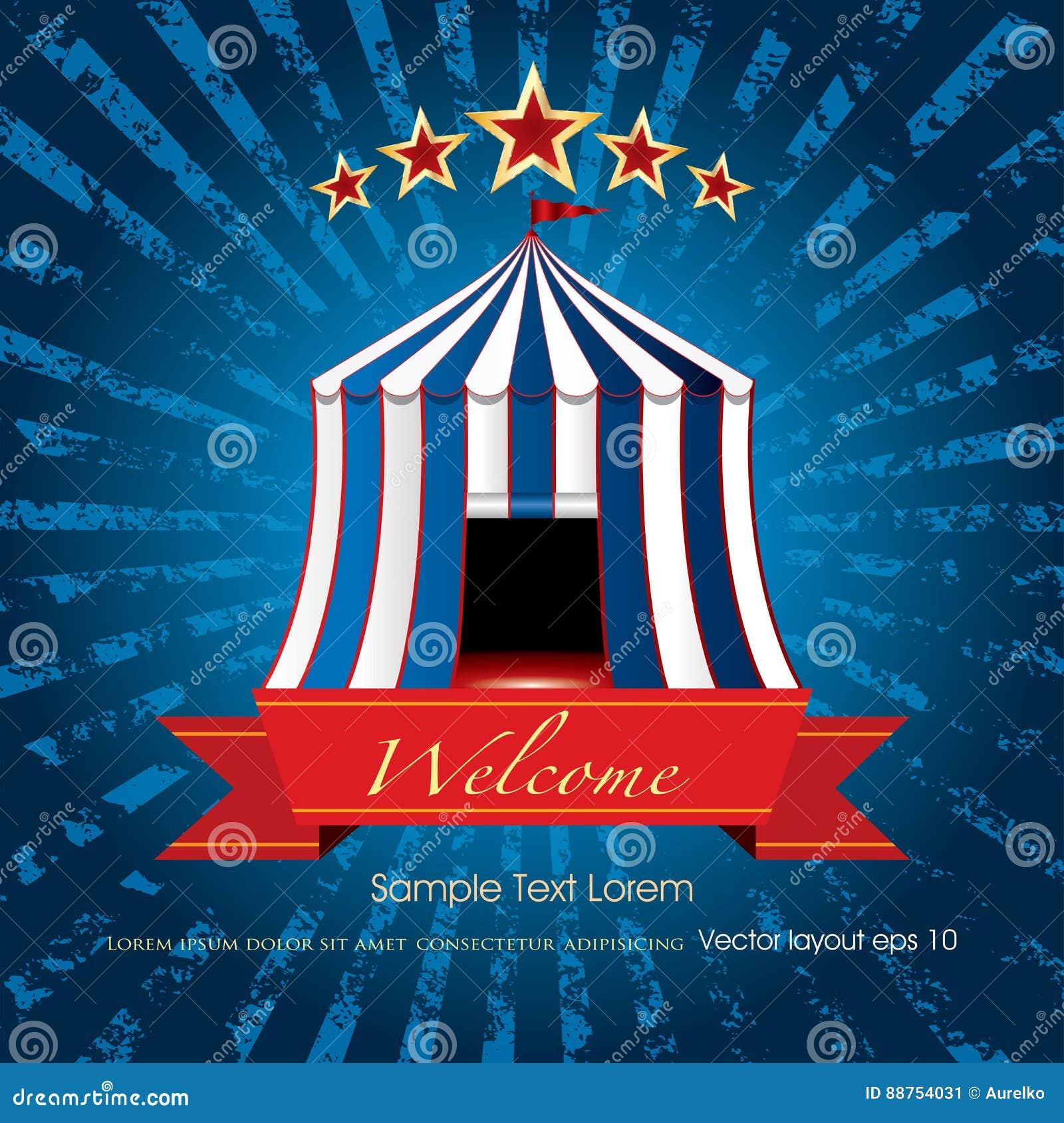 e745ce7fa5 Explosão Azul Bem-vinda Do Circo Ilustração do Vetor - Ilustração de ...