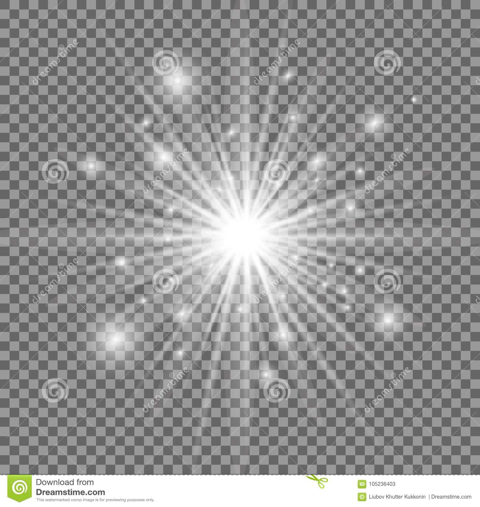 Explosão clara de incandescência branca com fundo transparente Ilustração do vetor Estrela brilhante Alargamento de brilho