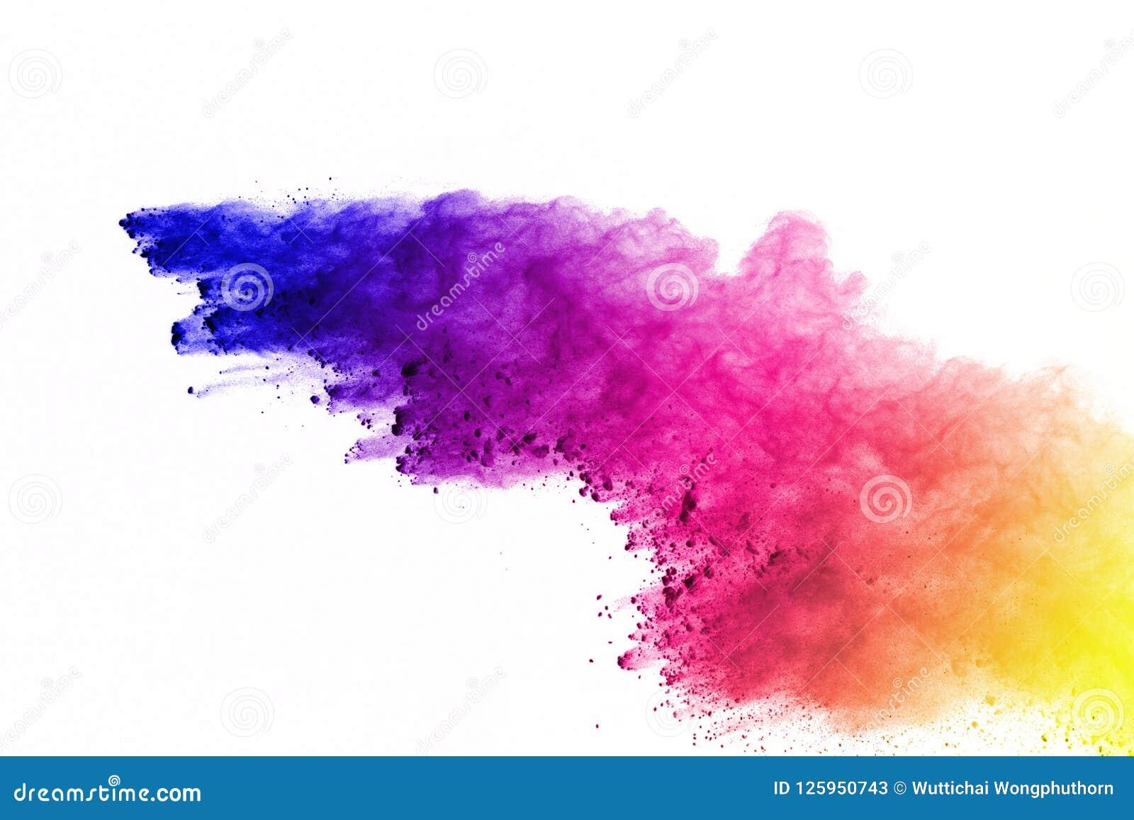 Explosão do pó colorido, isolada no fundo branco Sumário da poeira colorida splatted nuvem da cor