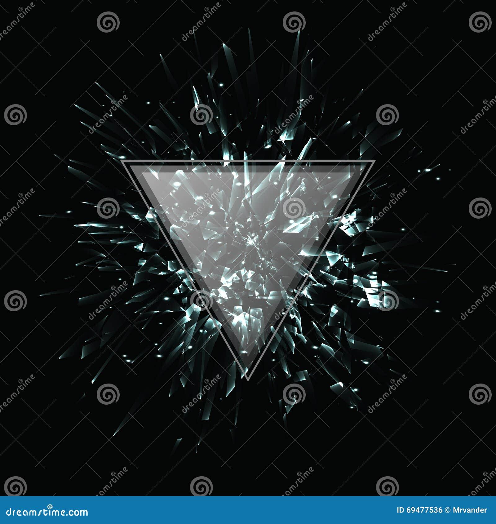 Explosão preto e branco abstrata do vetor Frame triangular