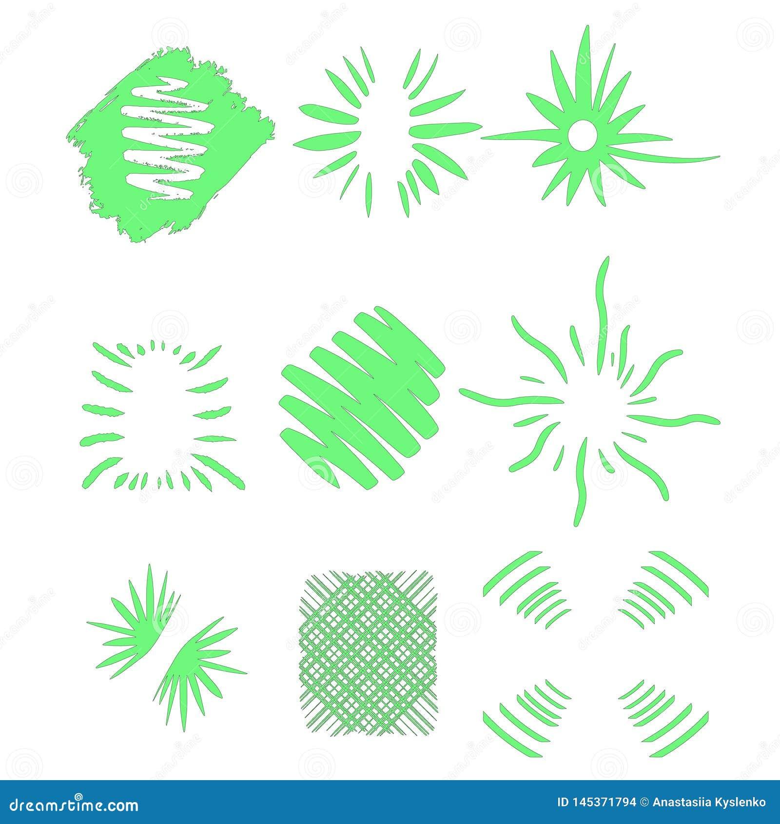 Explos?o de Sun, luz do sol da explos?o da estrela Irradiando do centro de feixes finos, linhas Ilustra??o do vetor Elemento verd