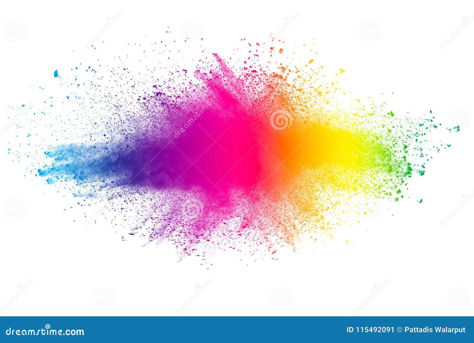 Explosión abstracta del polvo del multicolor en el fondo blanco