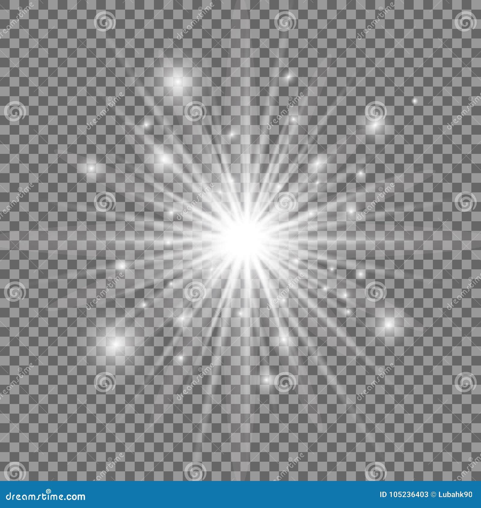 Explosión ligera que brilla intensamente blanca con el fondo transparente Ilustración del vector Estrella brillante Llamarada bri