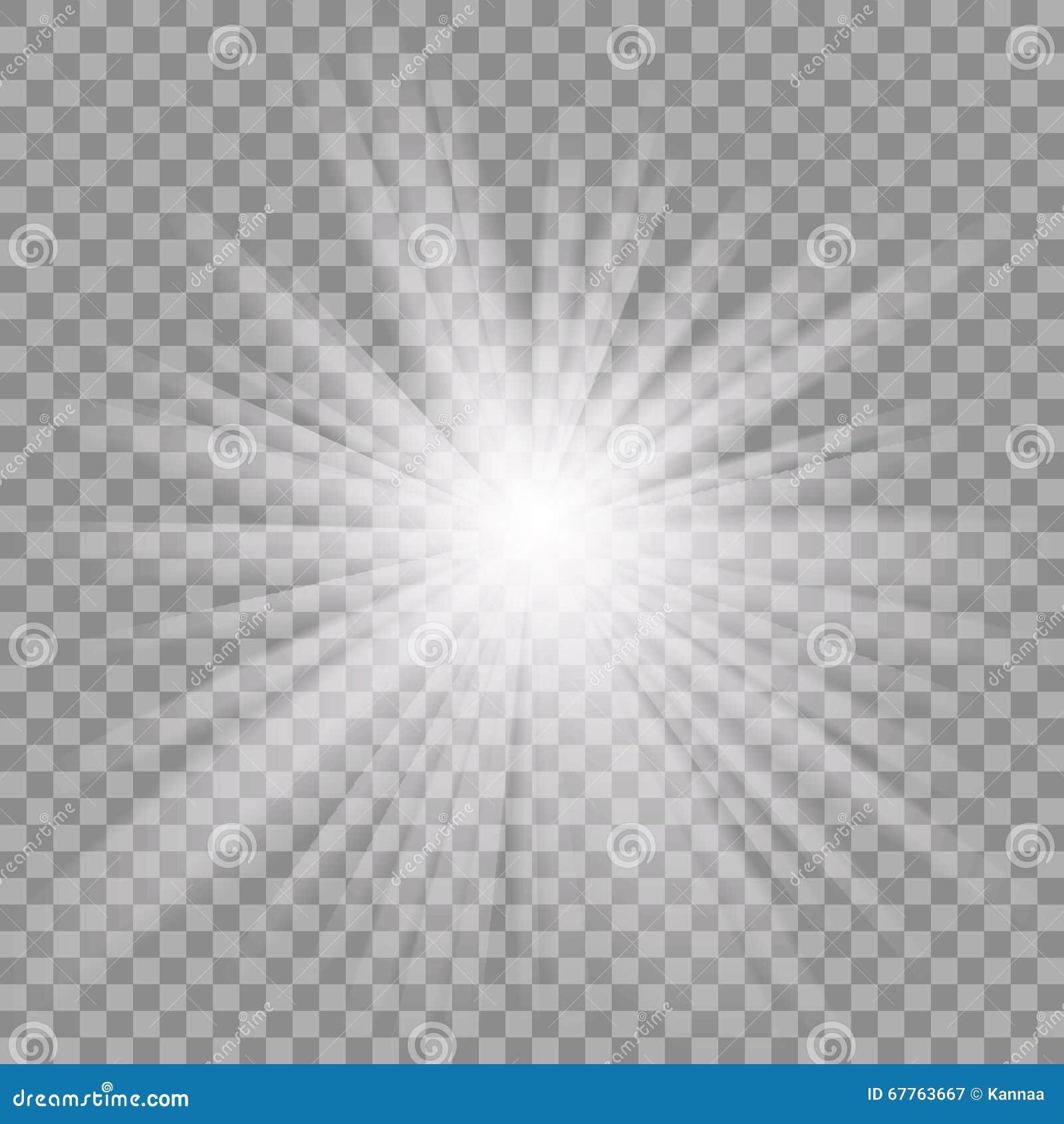 Explosión ligera que brilla intensamente blanca en fondo transparente