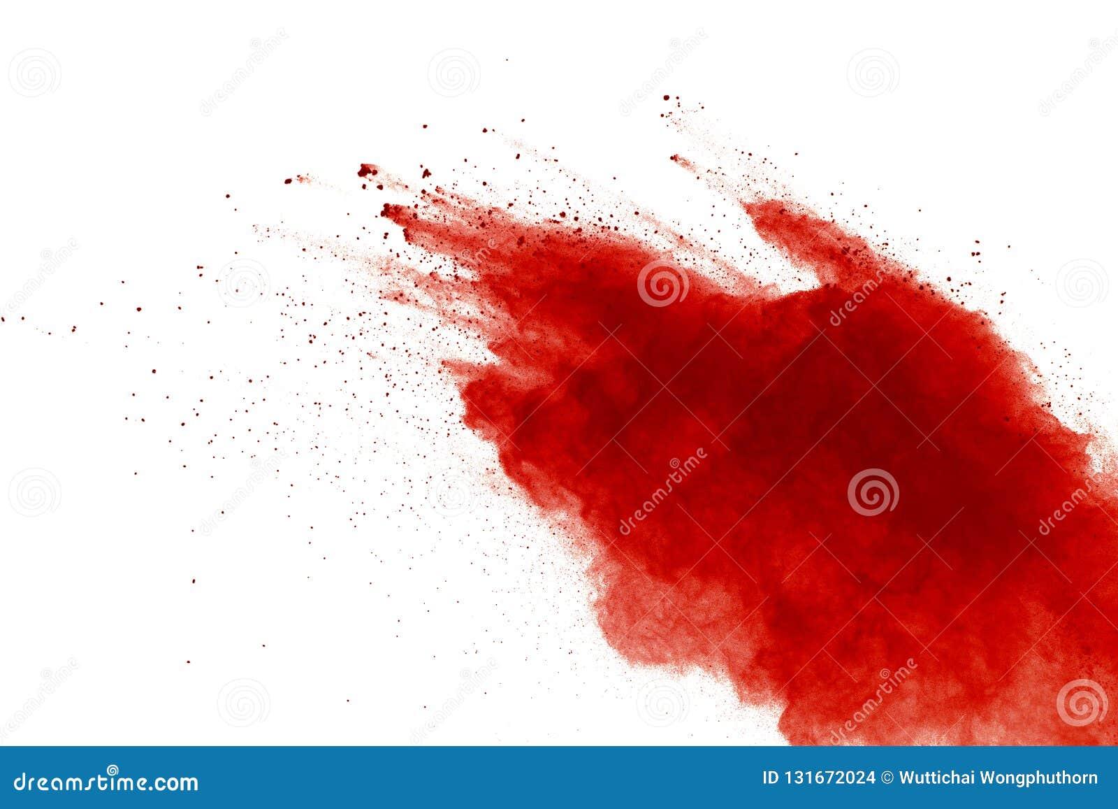 Explosión roja del polvo en el fondo blanco Pinte Holi