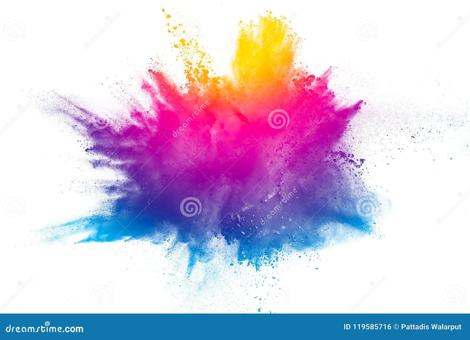 Explosie van het poeder van de regenboogkleur op witte achtergrond
