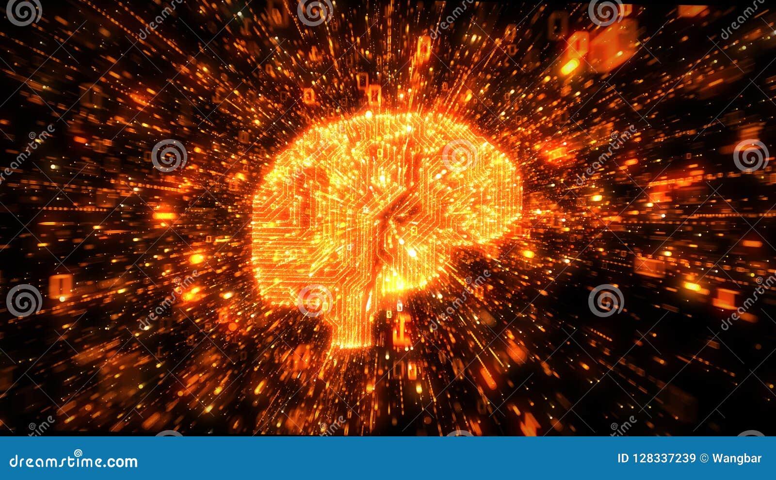 Explosion av binära data runt om den orange hjärnan som illustreras som digital strömkrets