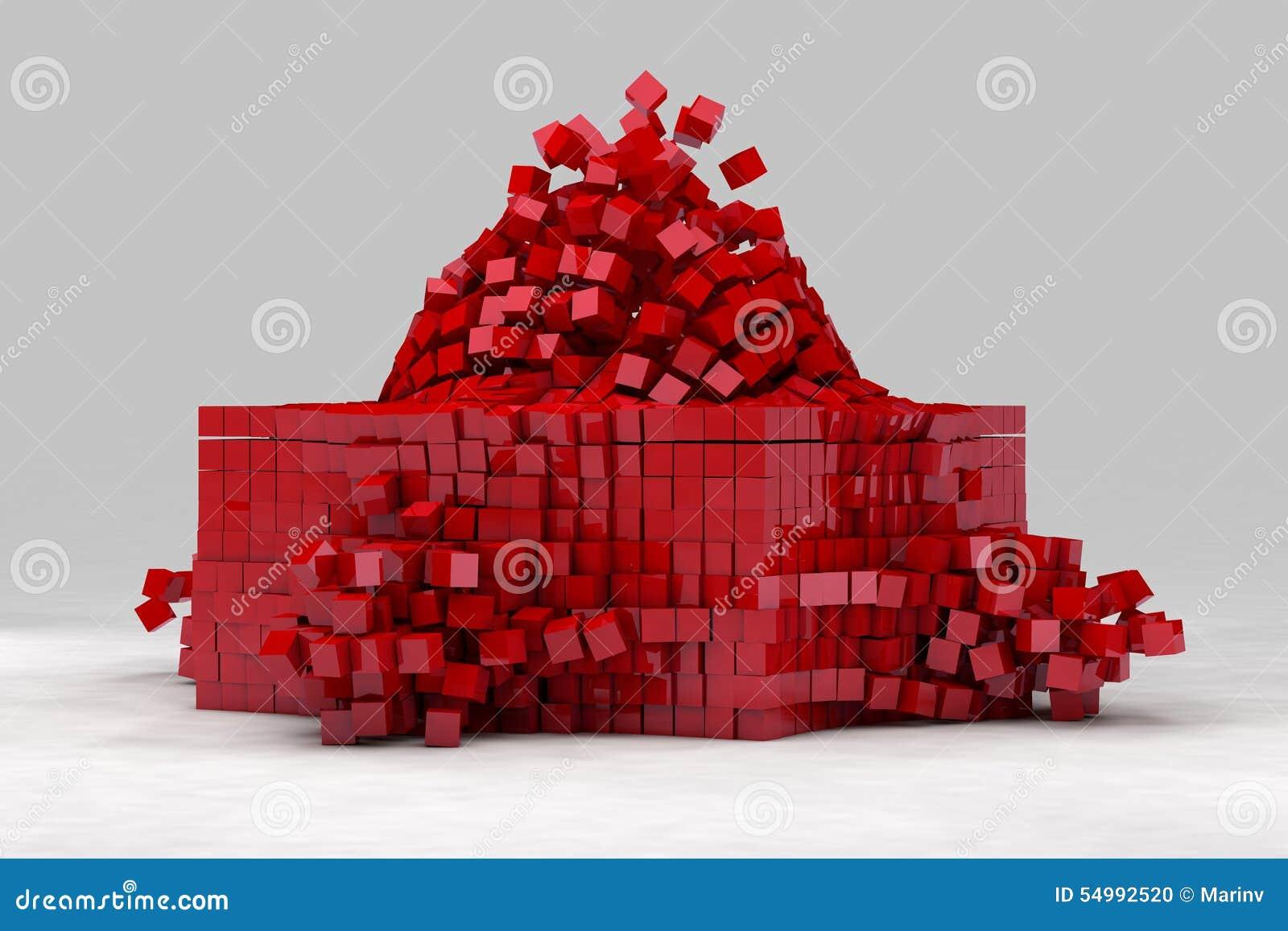 Explosion av fältet av röda kuber