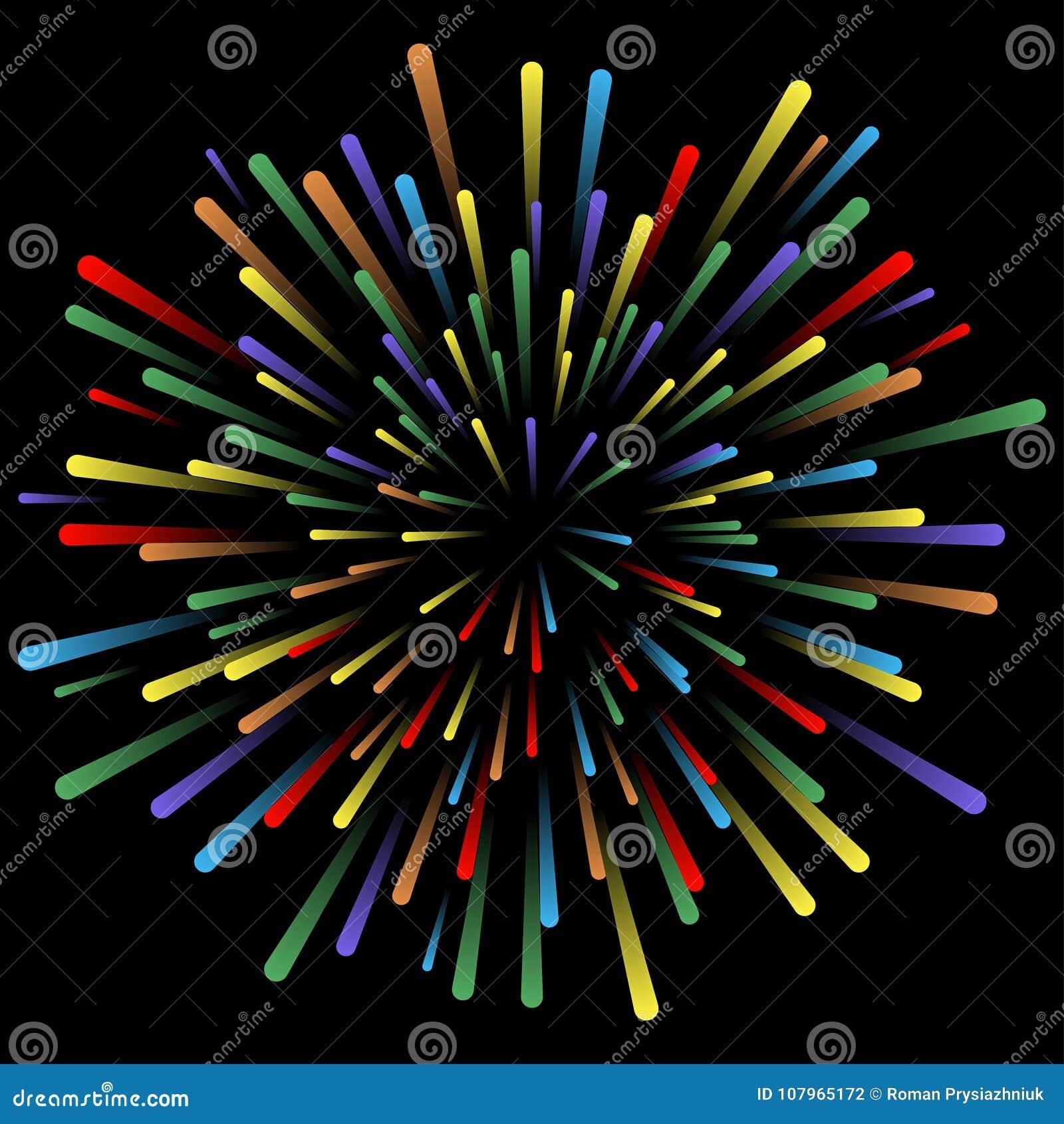 Explosion av fyrverkerier Glödande ljusa effekter Abstrakta ljusa färgrika linjer, strålar Bakgrund med pyrotechnic salut vektor