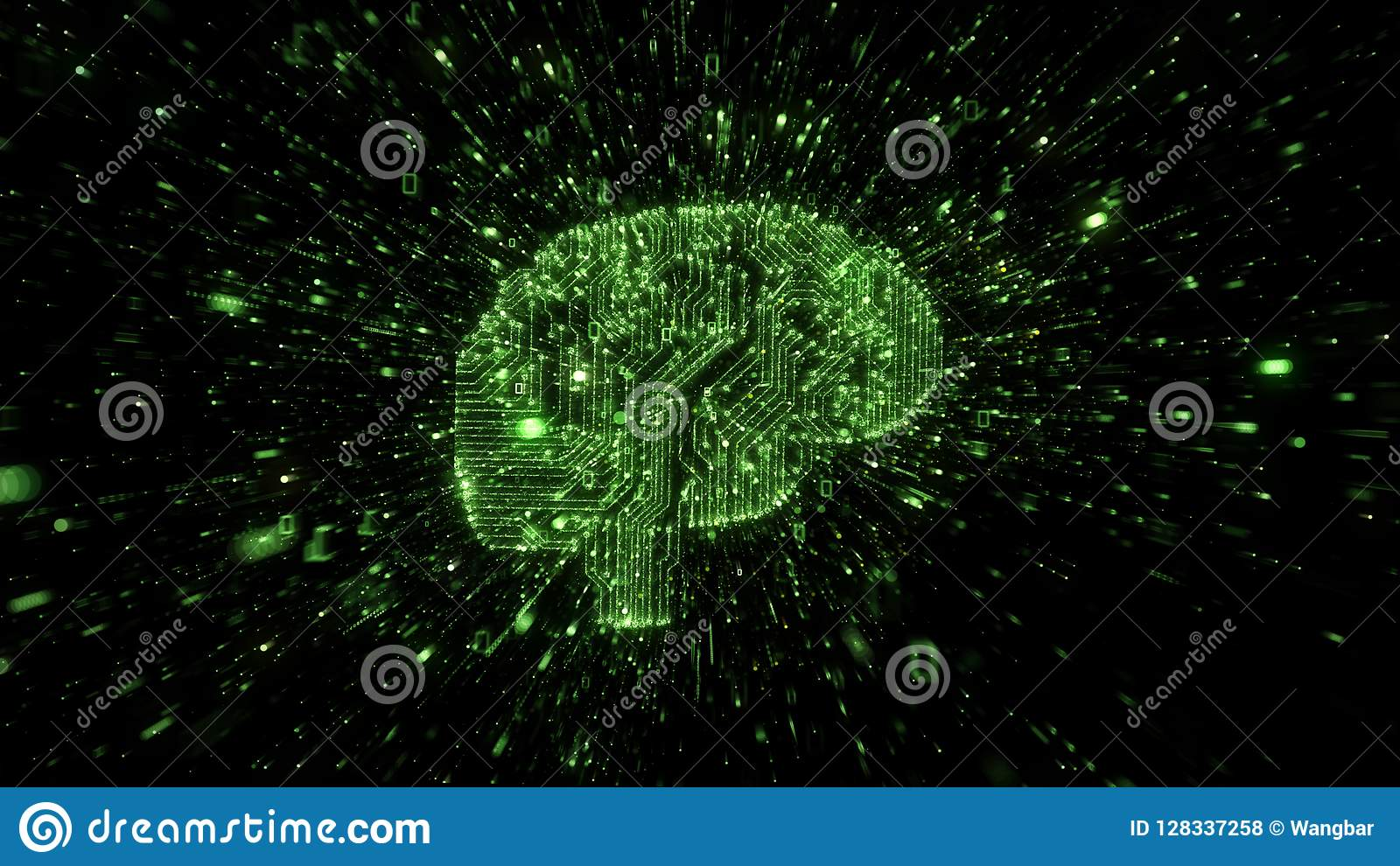 Explosion of binary data around green brain illustrated as digital circuitry