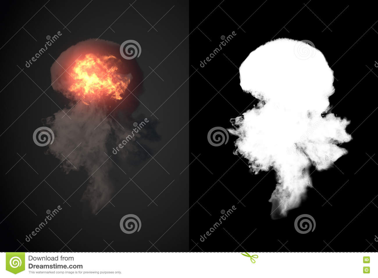 Explosion with black smoke in dark 3d rendering plus alpha channel