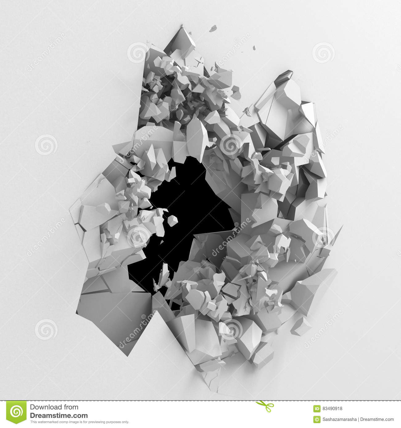 Explosion broken white wall with cracked hole. Abstract background