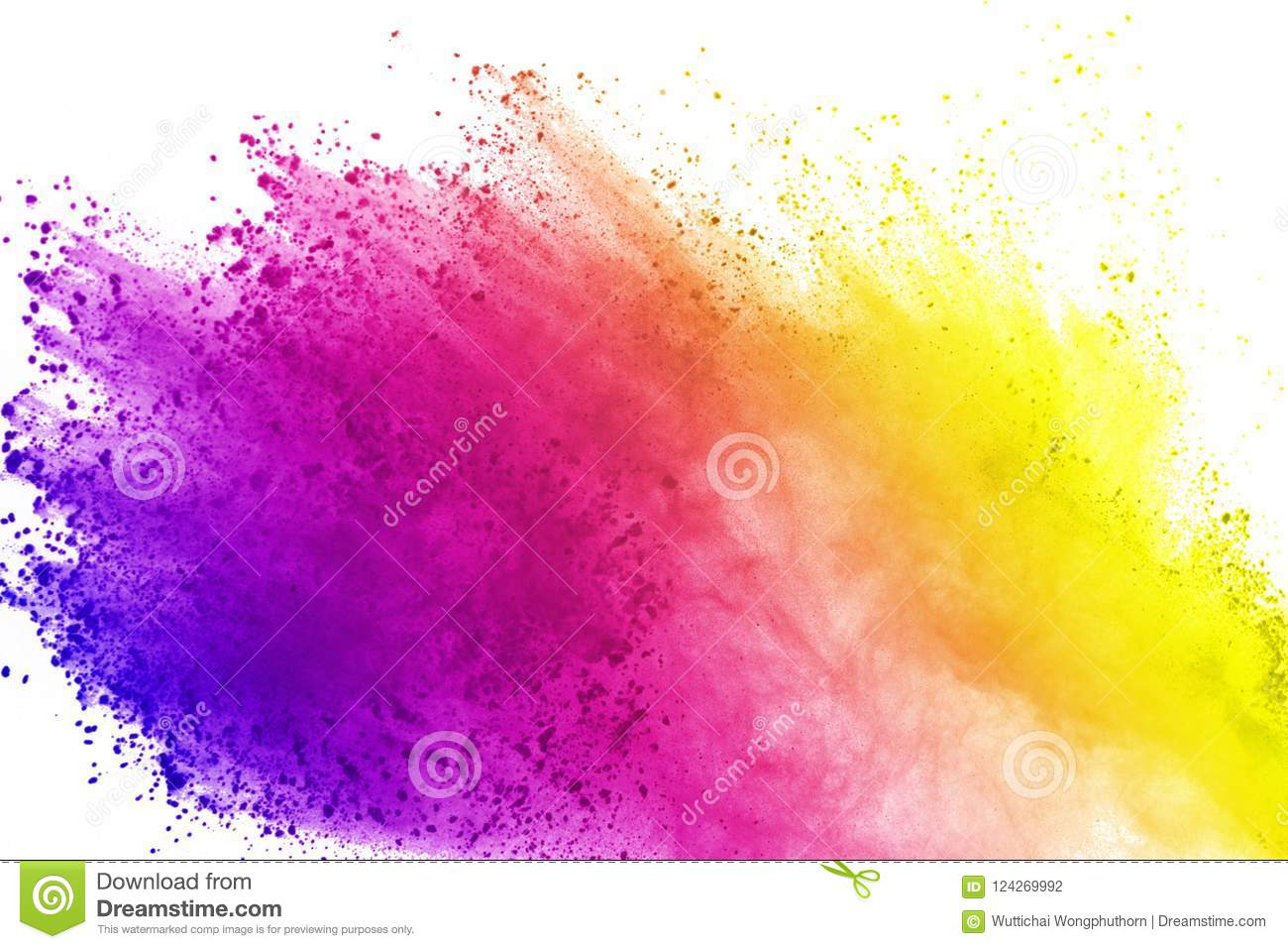 Explosion of colored powder, isolated on white background. Abstract of colored dust splatted. Color cloud.
