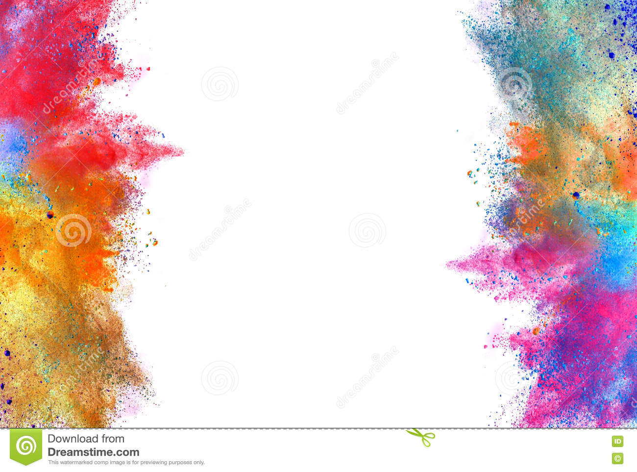 Explosion Of Colored Powder On White Background Chemicial Cosmos