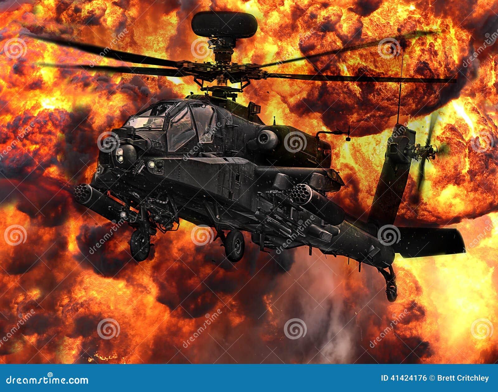 Explosion d hélicoptère de canonnière d Apache