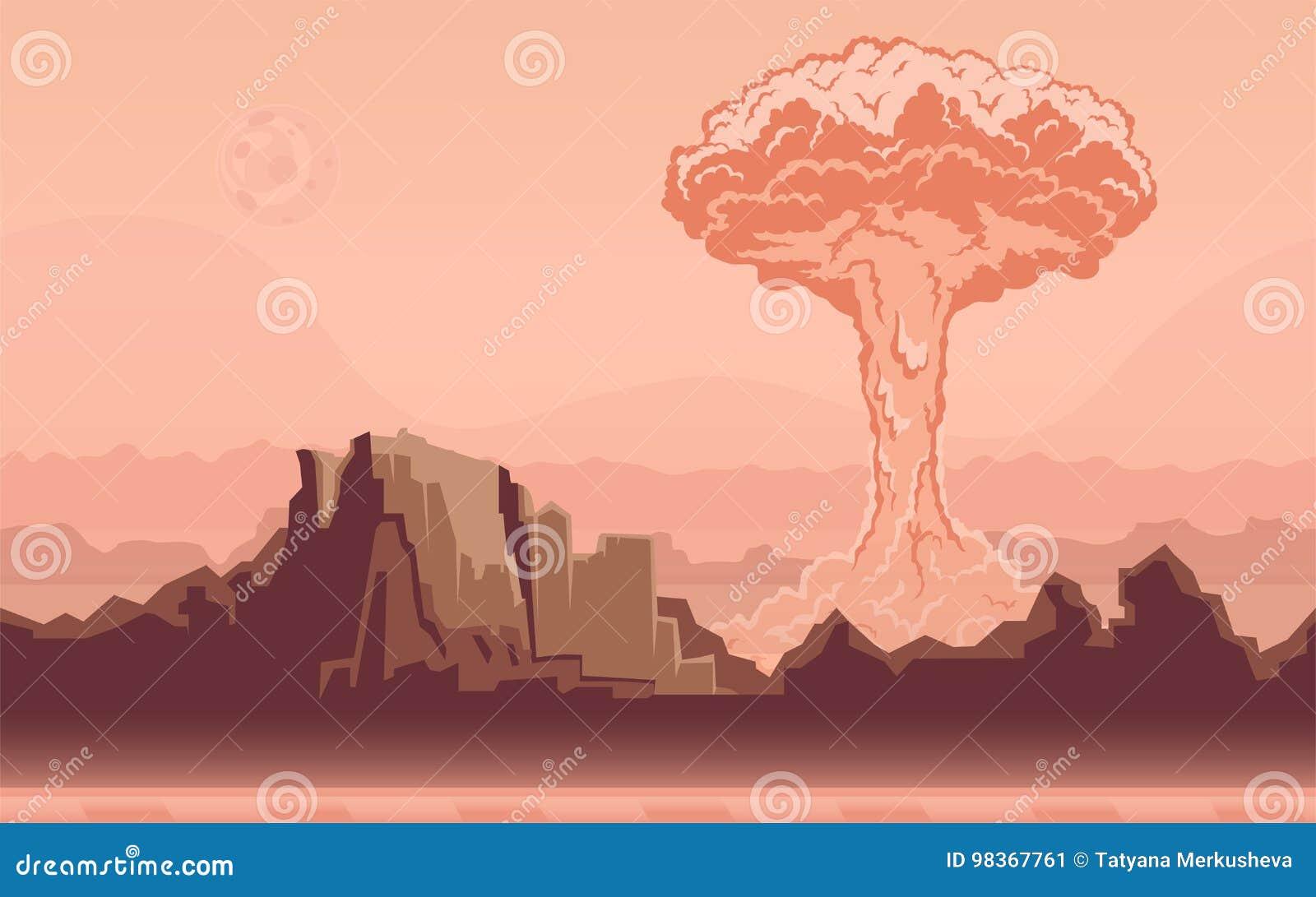 Explosion de bombe nucléaire dans le désert Champignon atomique Illustration de vecteur