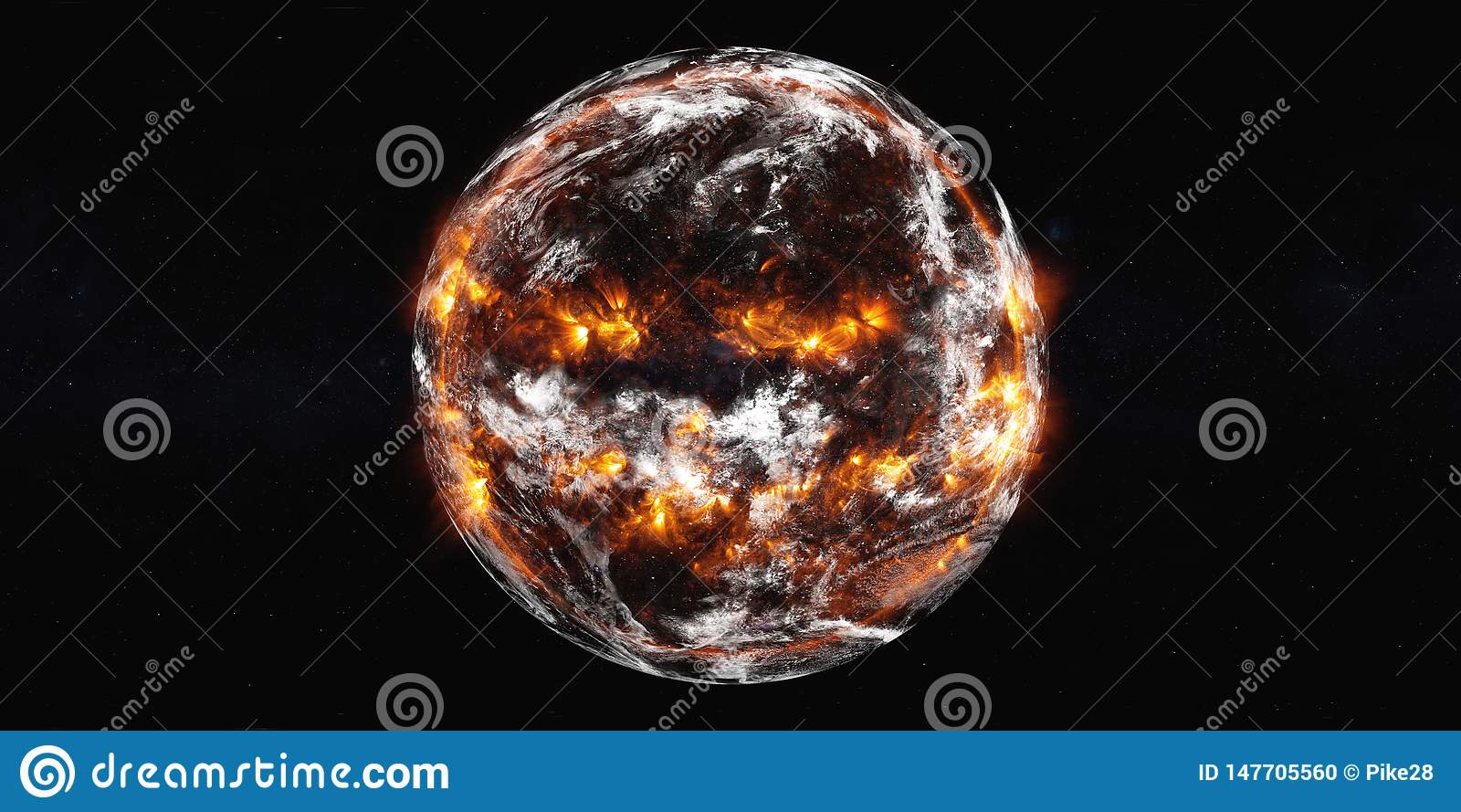 Explosion de la terre de planète