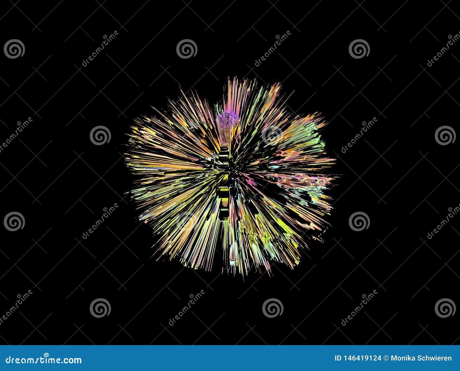 Explosion, in einer runden Form, digitale Grafik, bunt