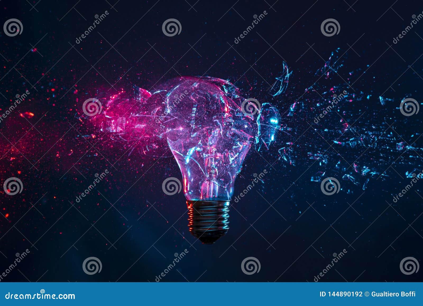 Explosion of a filament light bulb