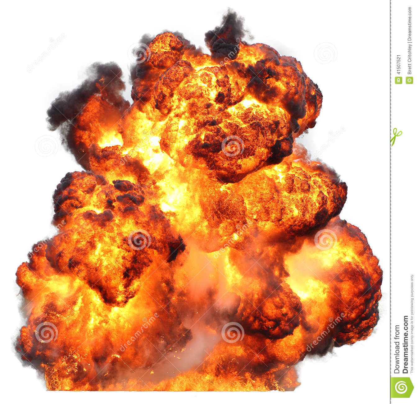 Bomb exploding explosion fireball inferno fire isolated on white ...