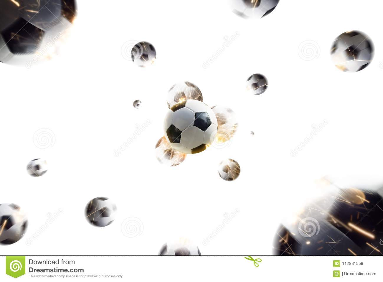 Soccer balls with fire sparks in action white isolate