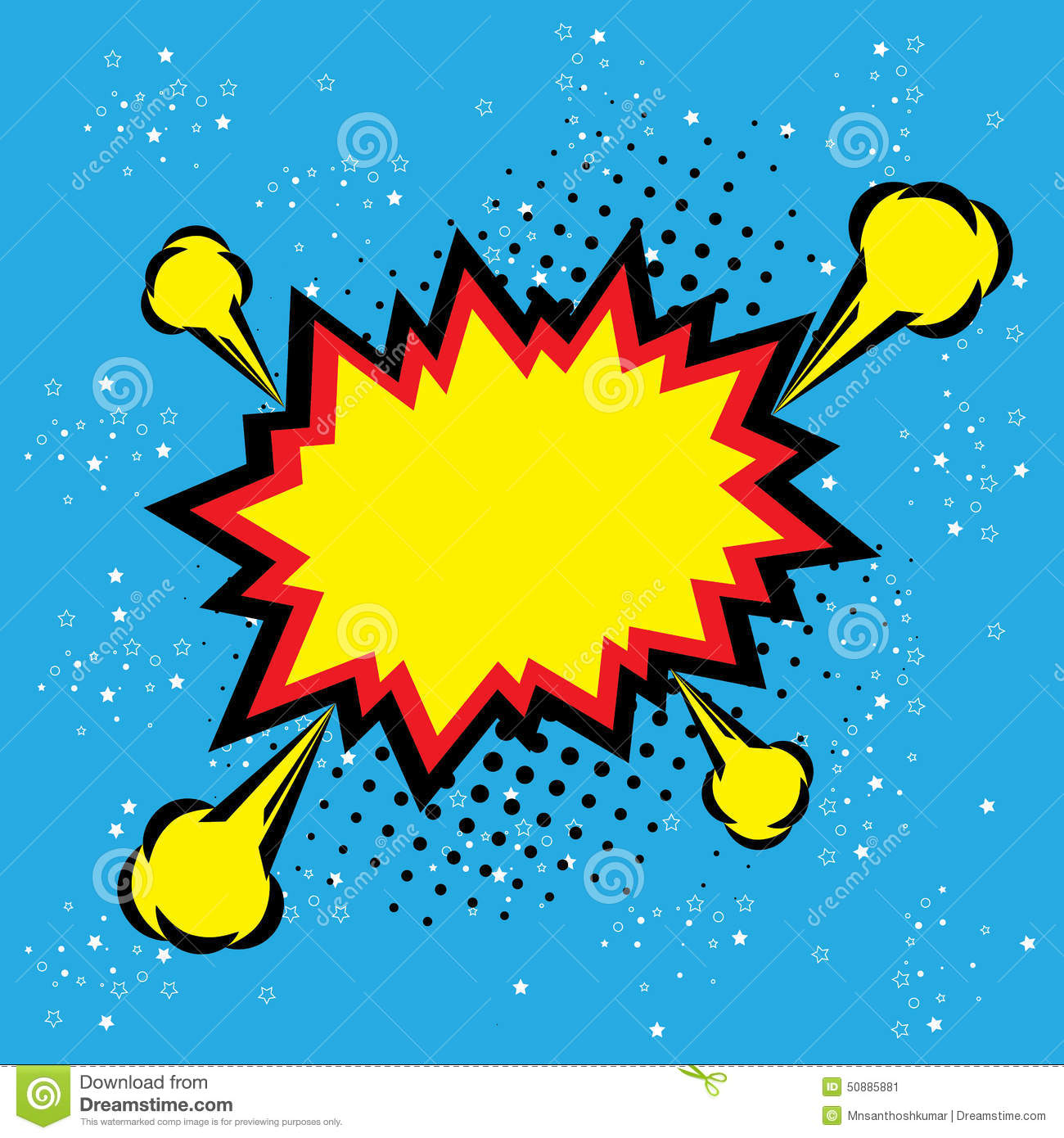 explosion steam bubble pop art vector   funny funky banner
