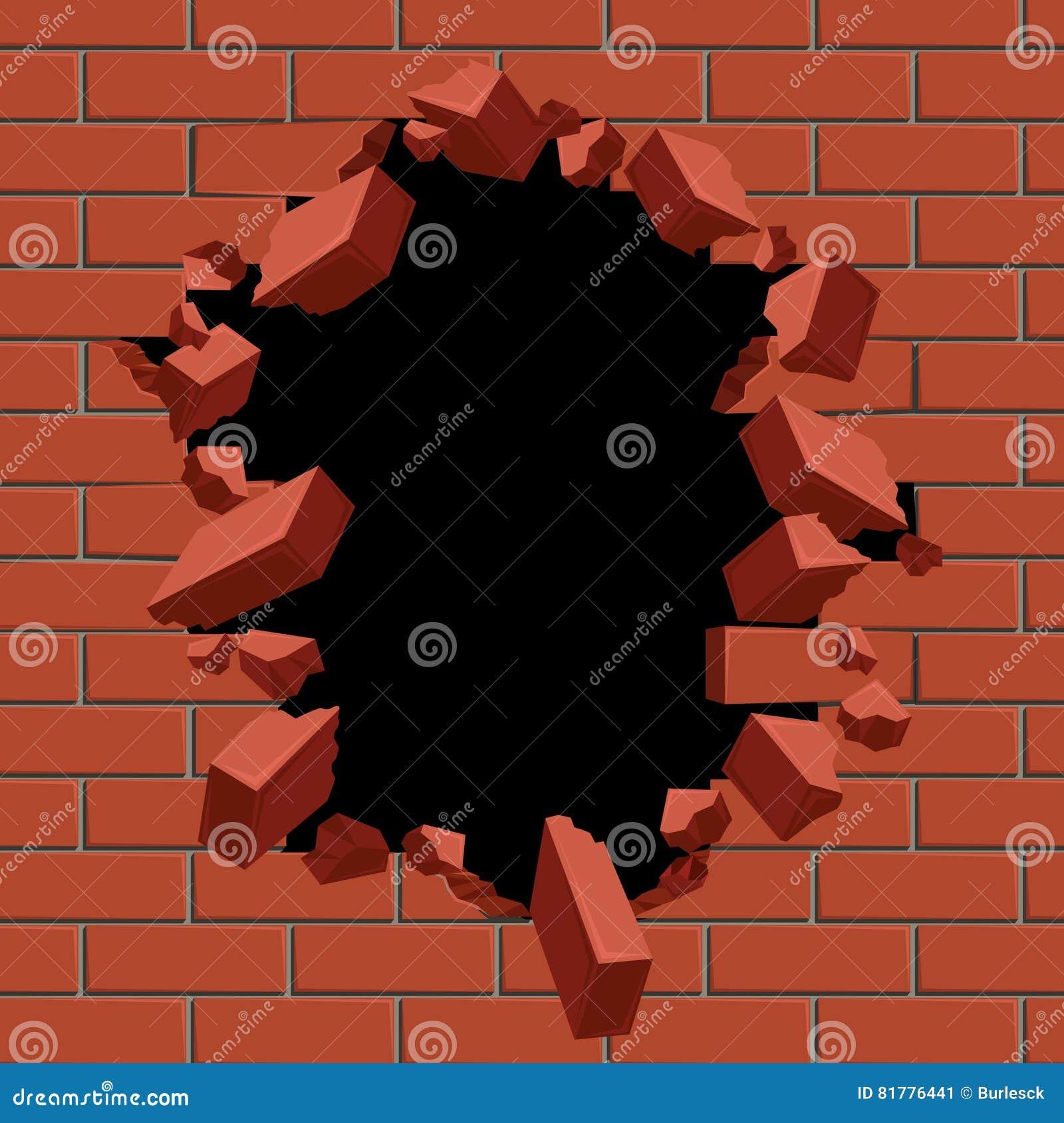 Explosion ut av hålet i illustration för vektor för vägg för röd tegelsten
