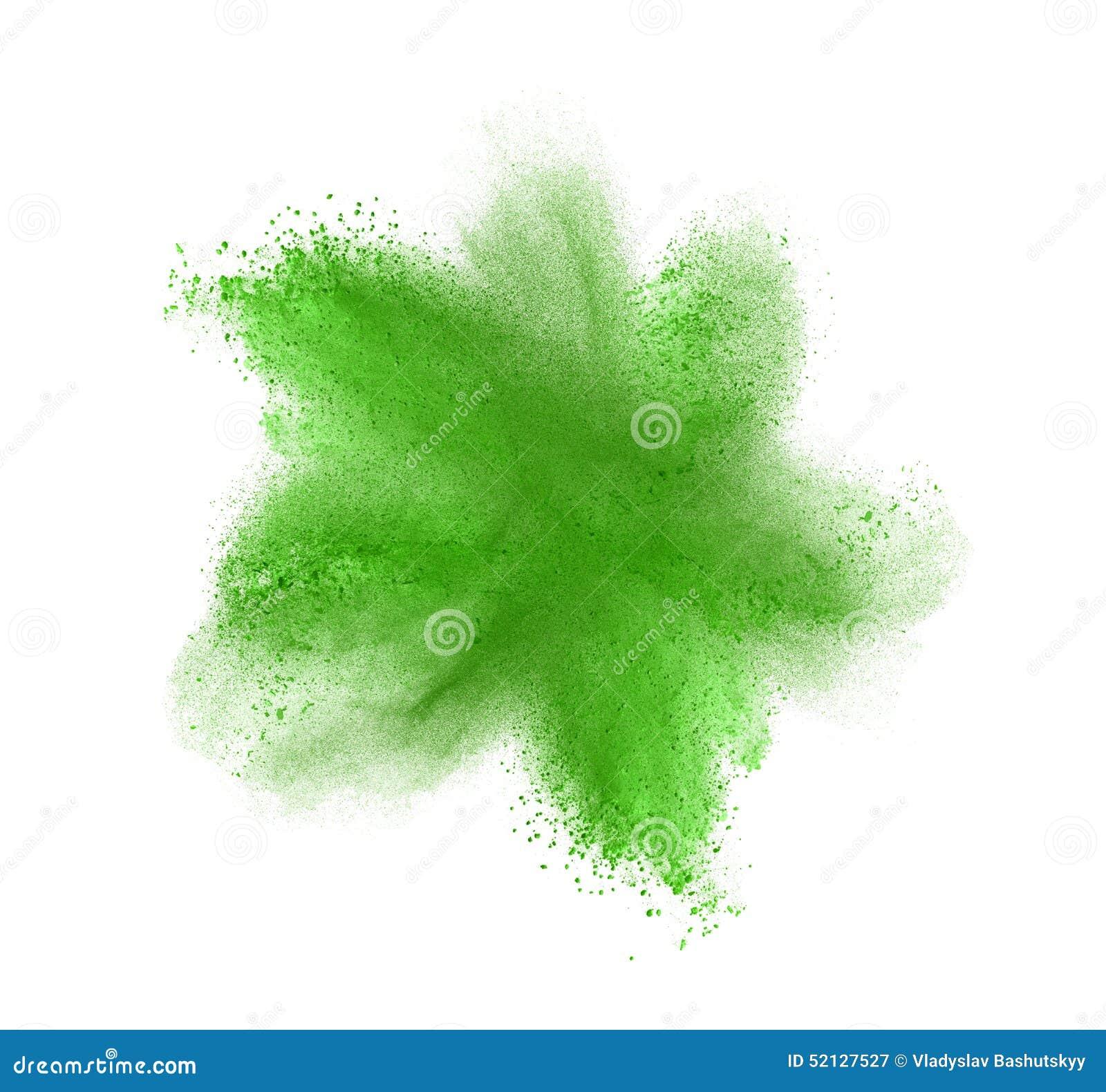 Explosion verte de poudre d isolement sur le blanc