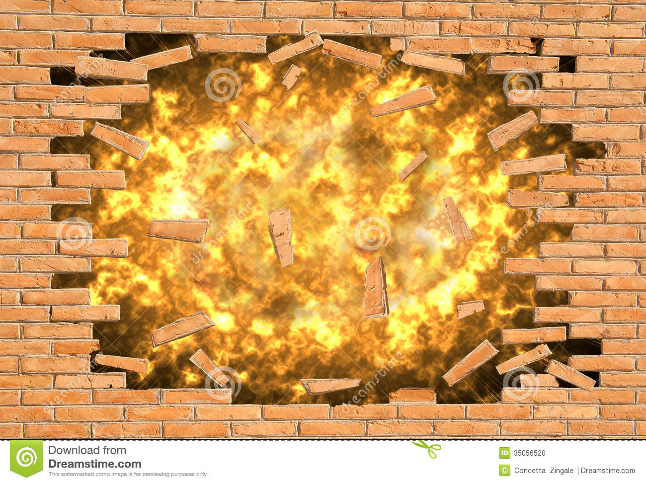 Explosion Of A Wall Stock Photo Image 35056520