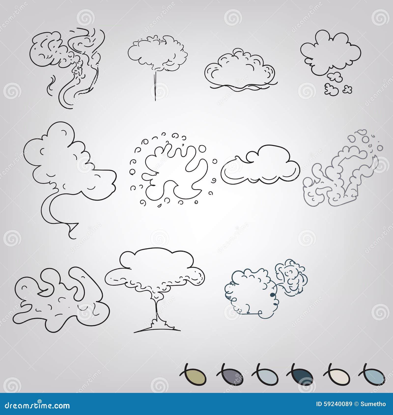 Download Explosiones Del Humo Del Garabato Fijadas Ilustración del Vector - Ilustración de nube, mano: 59240089
