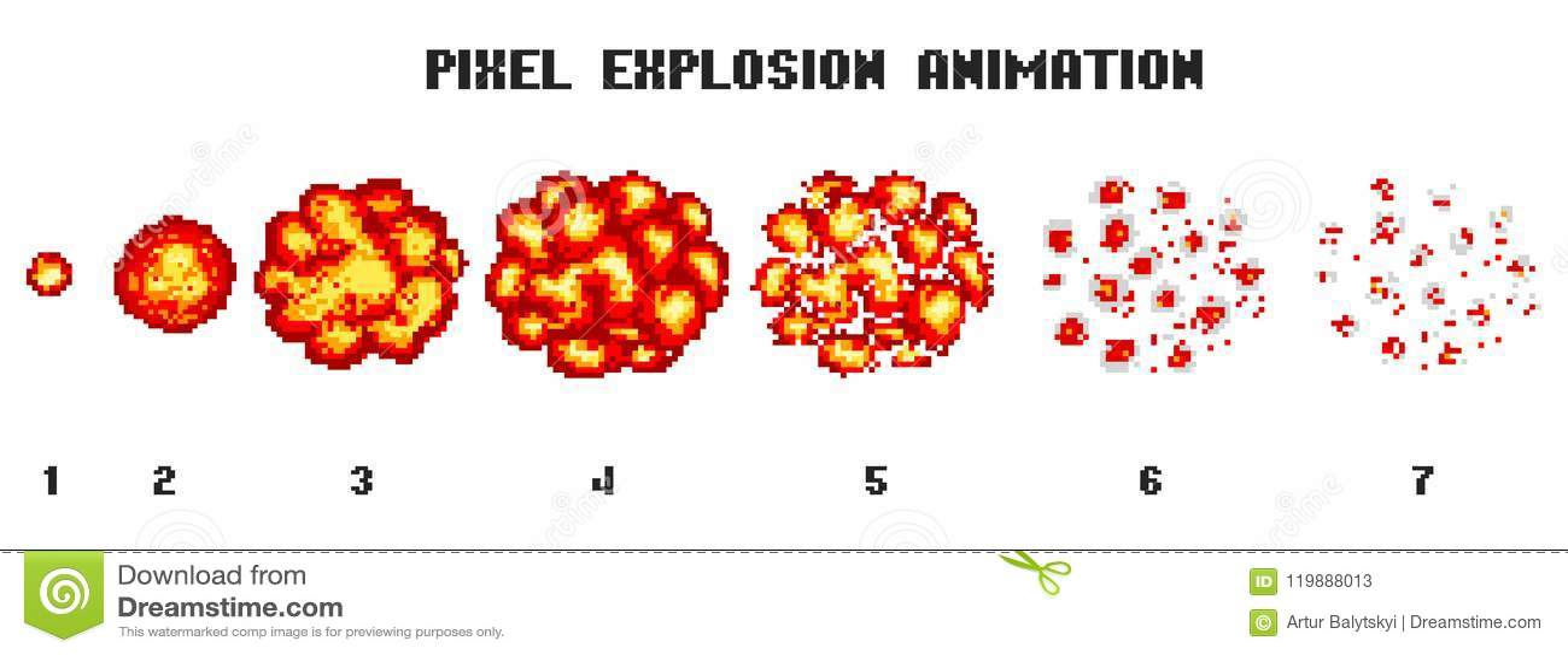 Explosions Dart De Pixel Icônes De Jeu Réglées Effets