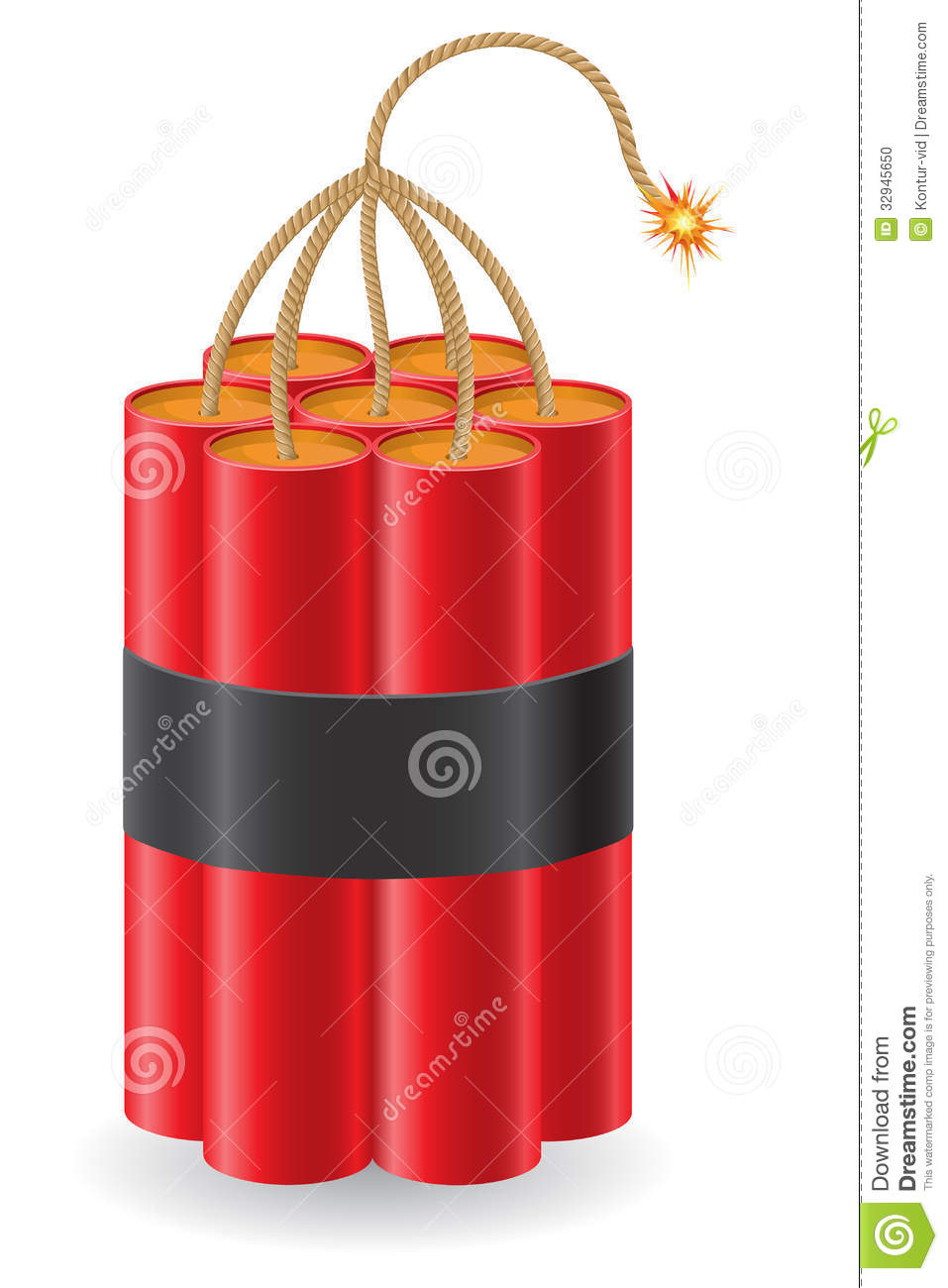 explosive dynamite with a burning fuse vector illu stock vector
