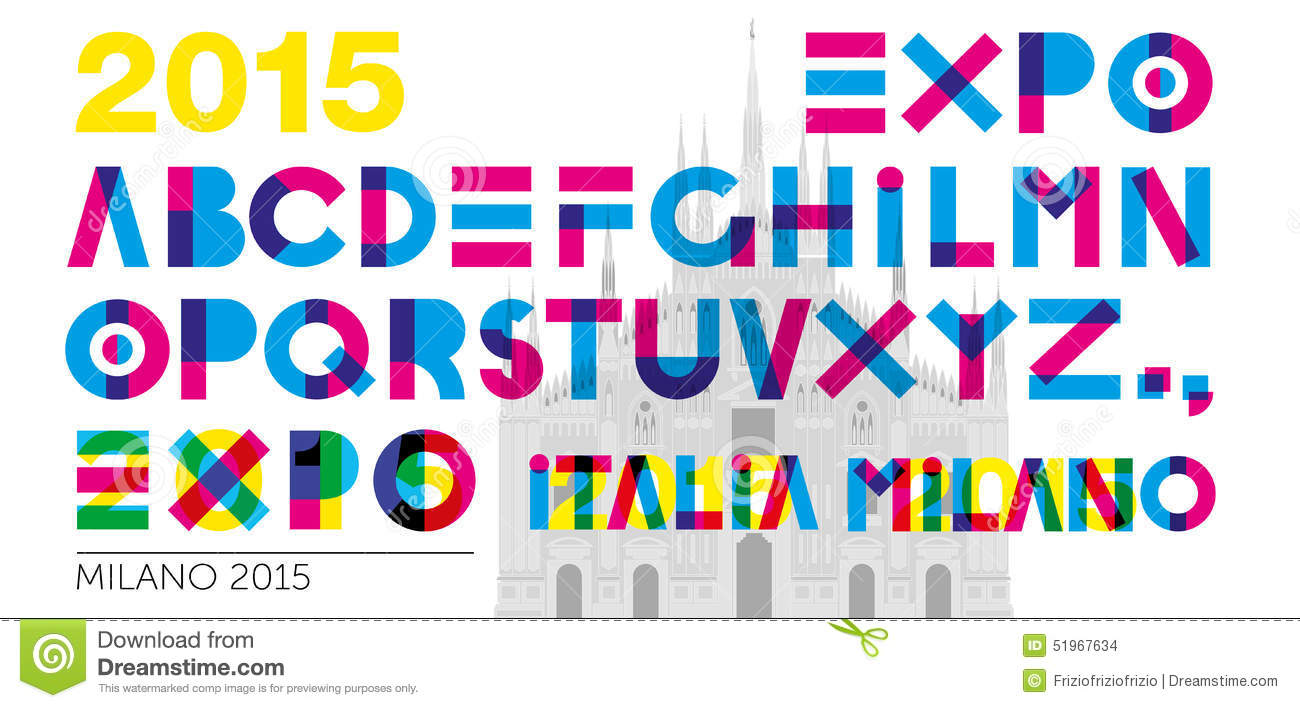 Expo 2015 font stock vector image 51967634 for Design language milano