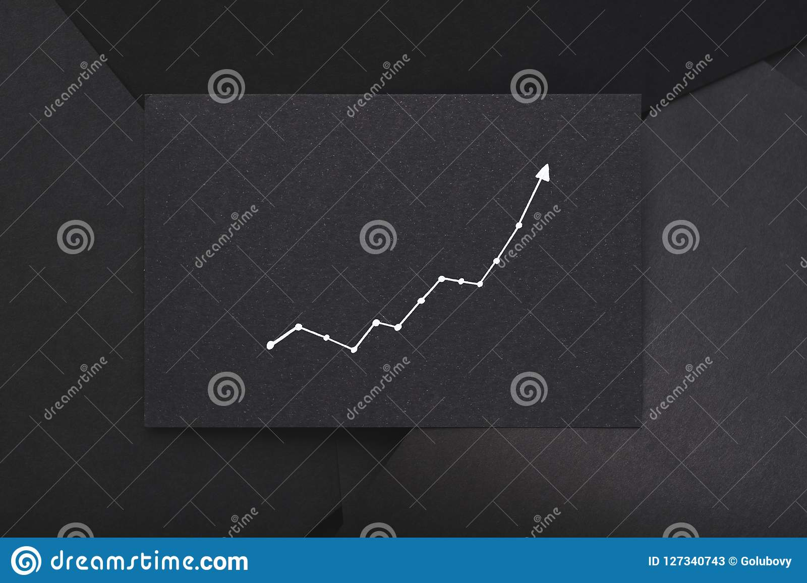 Exponential Graph Growth Progress Black Paper Stock Image ...