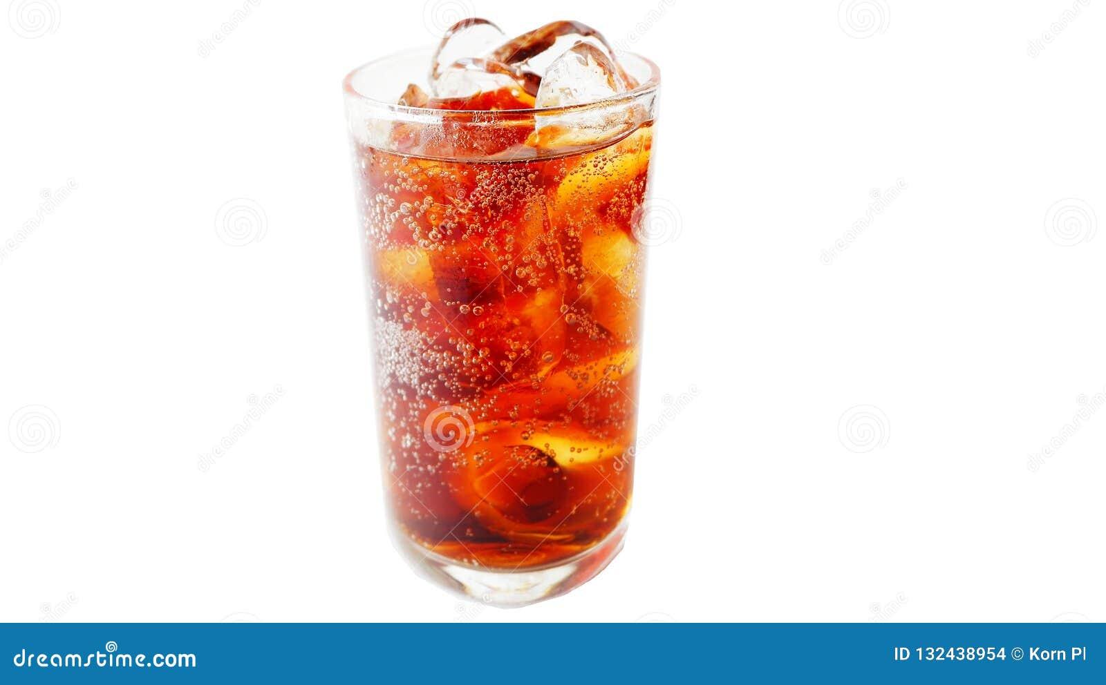 Exponeringsglas av cola på en vit bakgrund