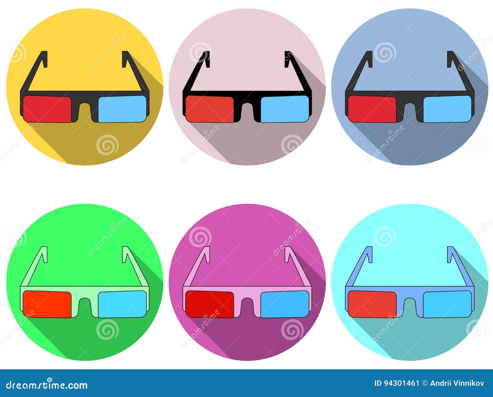 Exponeringsglas 3d är plana med en lång skugga Modern design av exponeringsglas Röda och blåa linser inställda symboler vektor