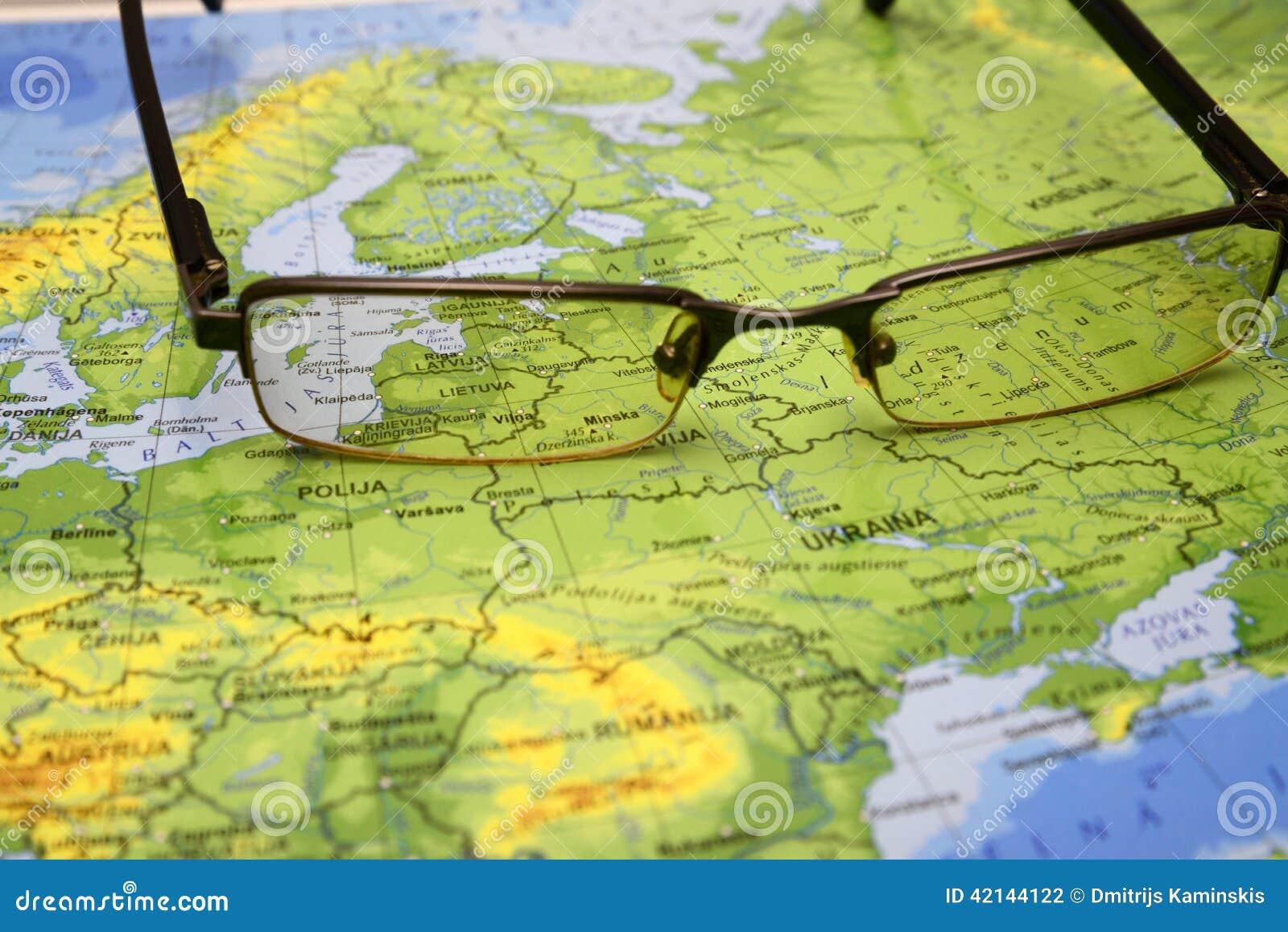 Exponeringsglas på en översikt av Europa