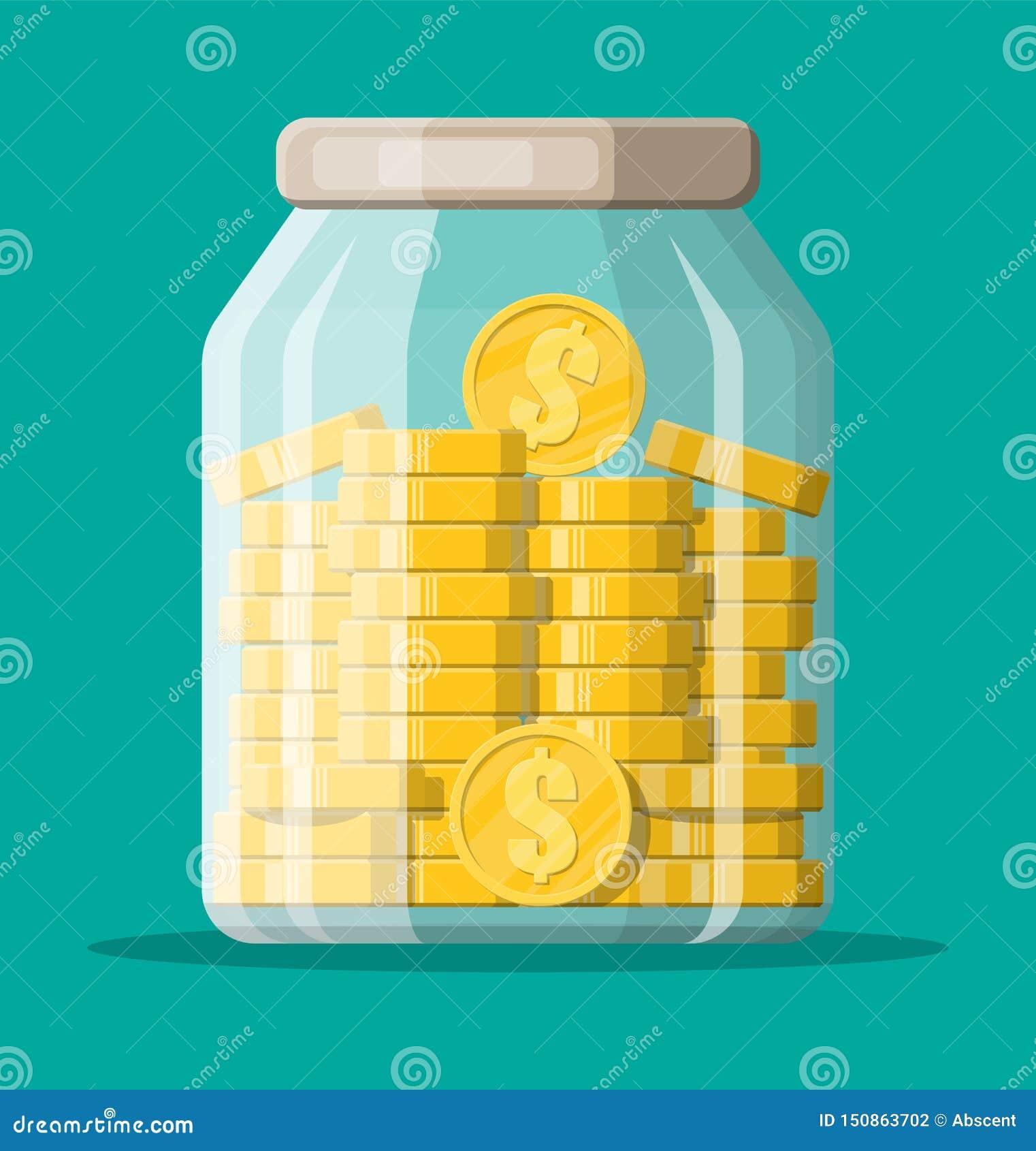 Exponeringsglaspengarkrus mycket av guld- mynt