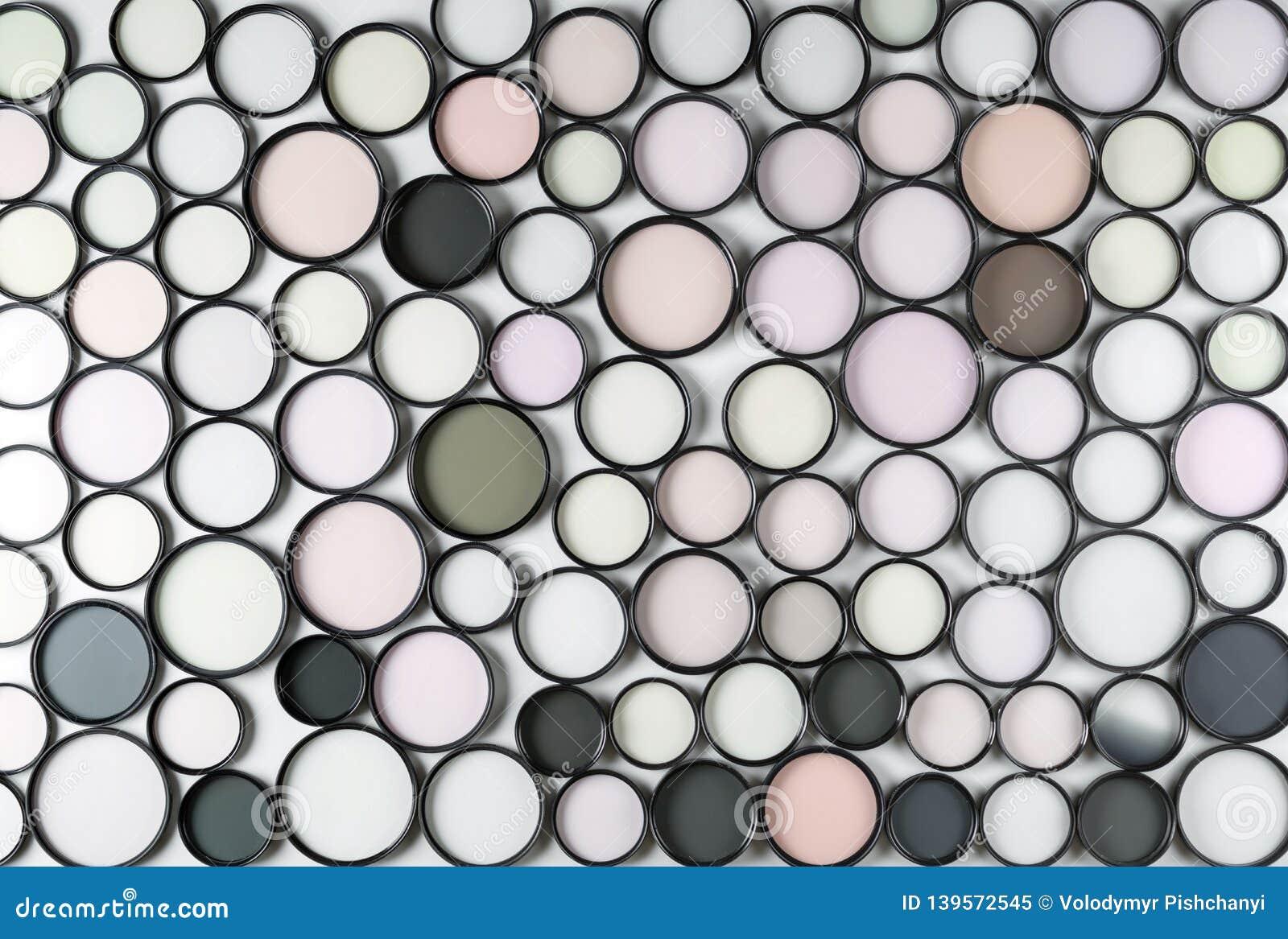 Exponeringsglasrundafilter av olika färger och format