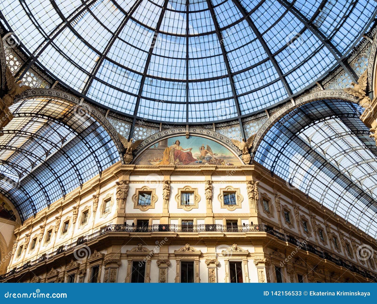 Exponeringsglastak av Galleria Vittorio Emanuele II