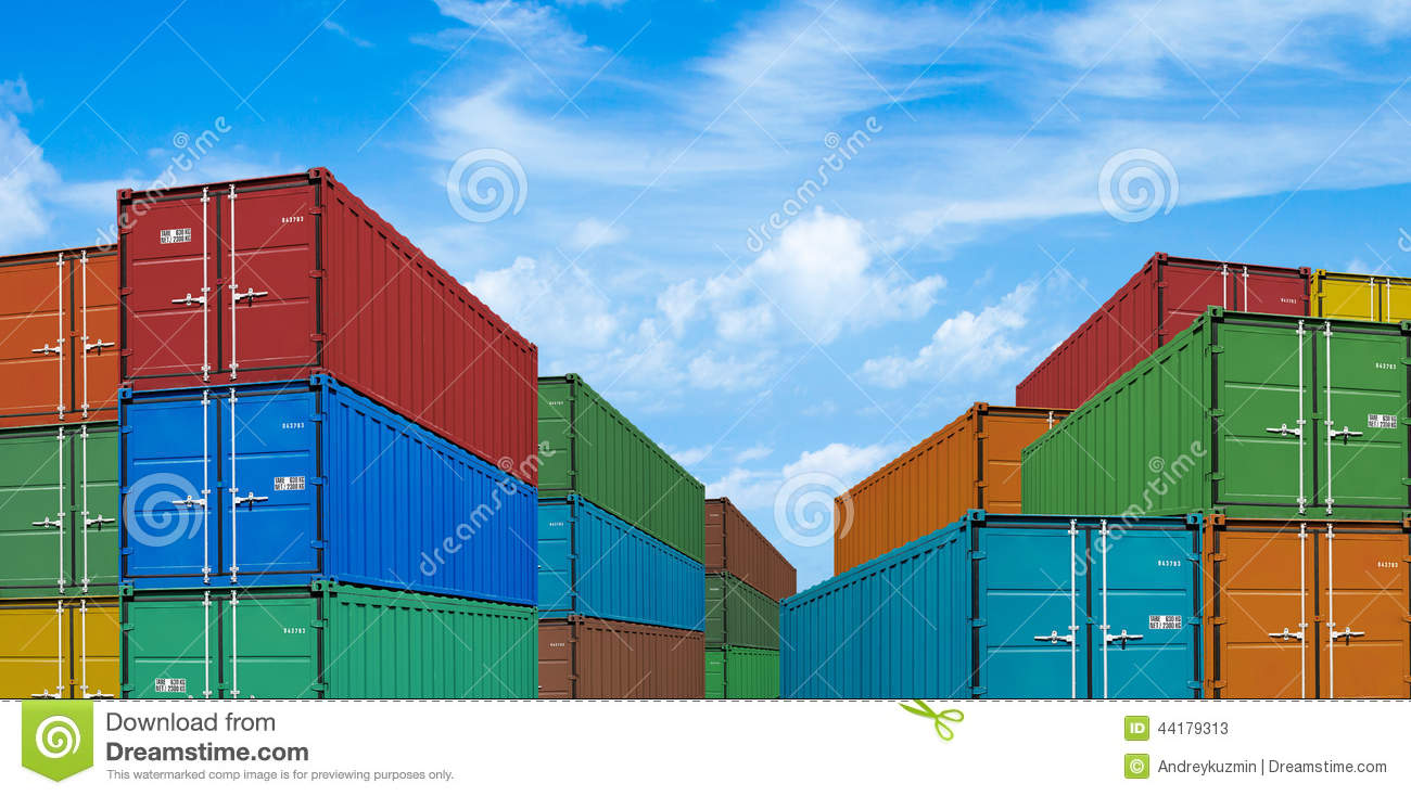 Export or import shipping cargo container stacks