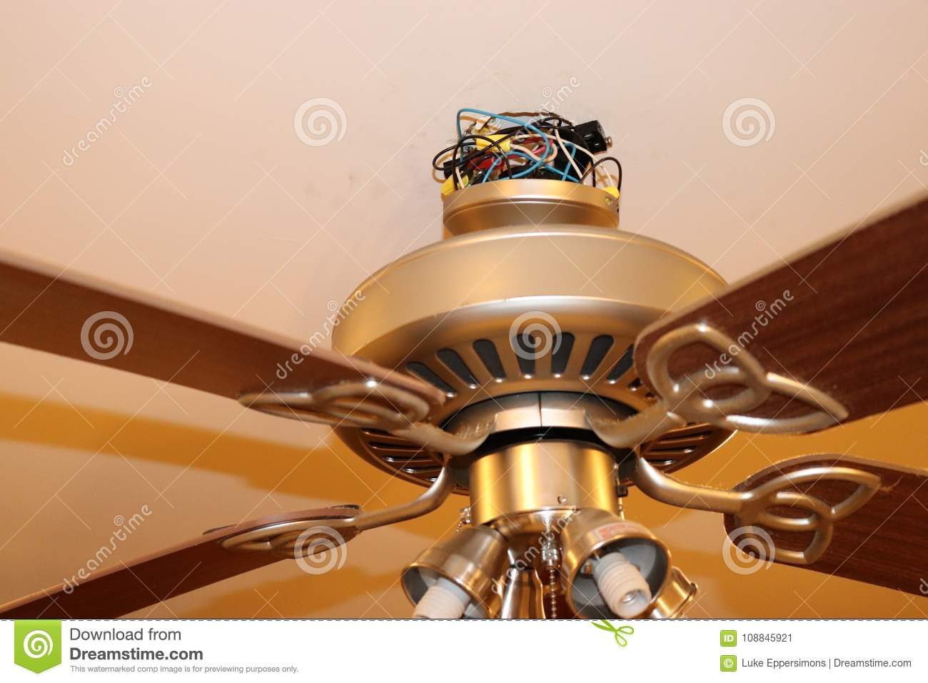 Exposed Ceiling Fan Wires Closeup Stock Image Of Hanging Installing Wiring