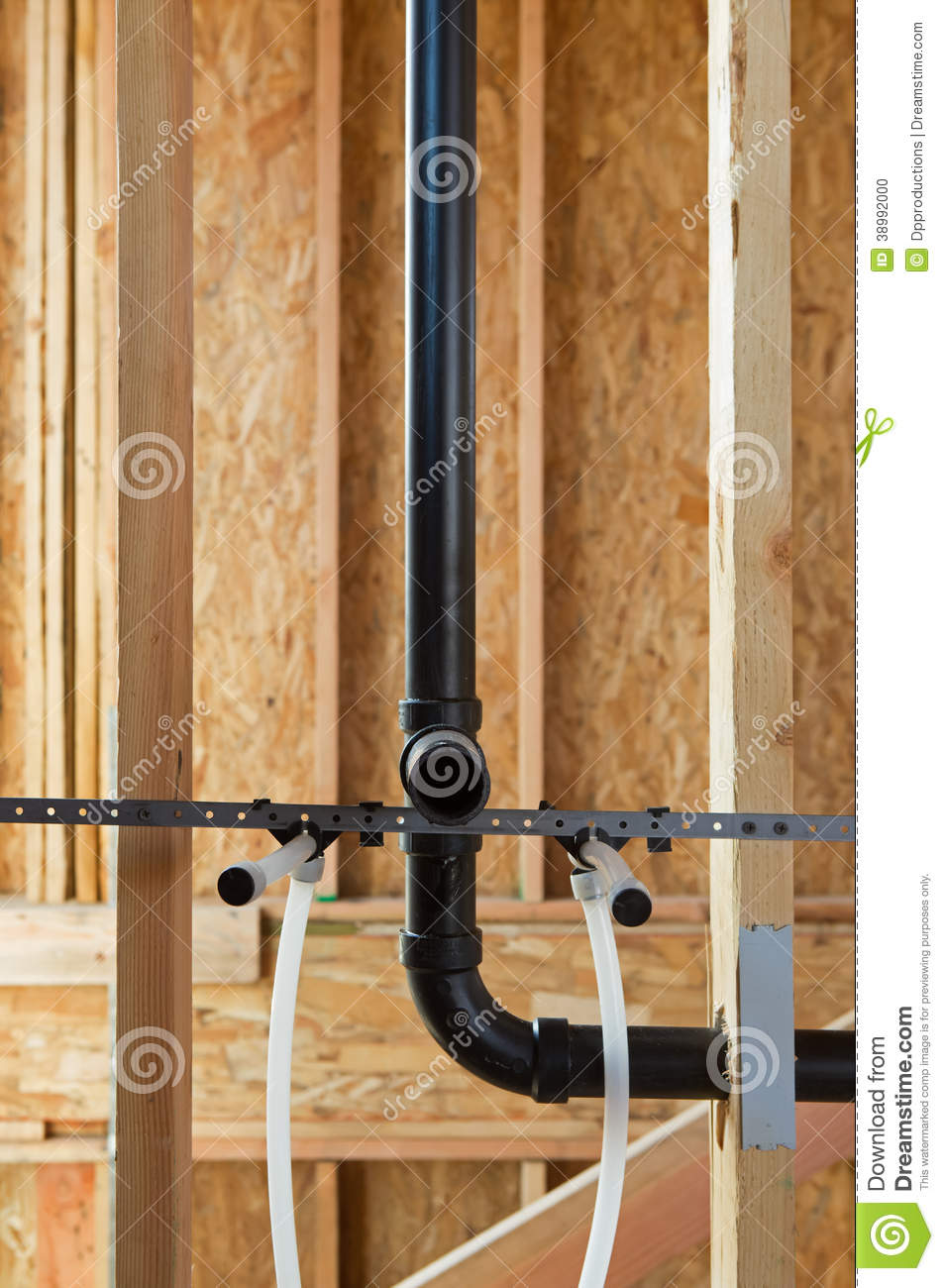 Exposed new home construction stock photo image of for New home plumbing