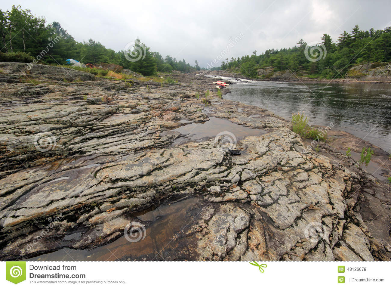 Exposed rock river landscape stock photo image 48126678 for Landscaping rocks canada