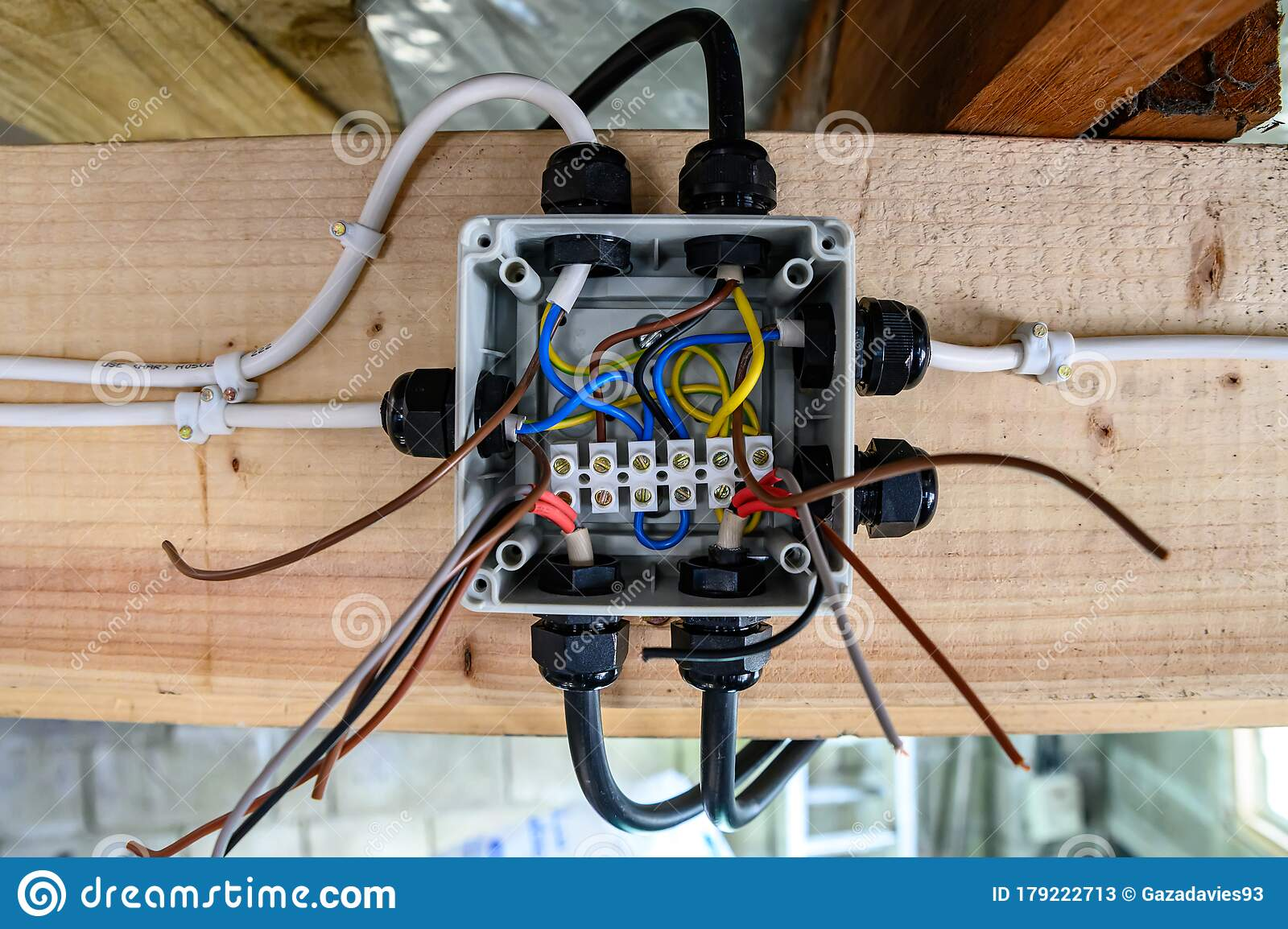 Exposed Wiring Junction Box Half Complete Ready For Operation In Home Garage Stock Image Image Of Jeopardy Background 179222713
