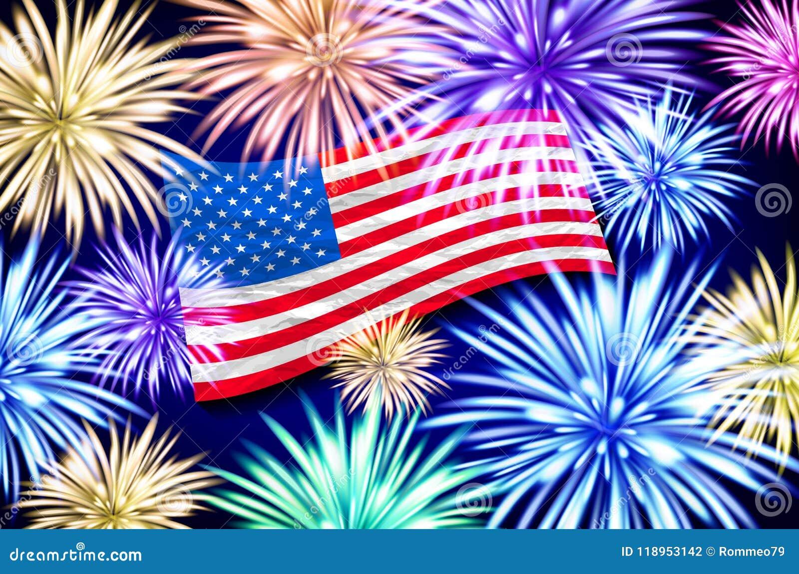 Exposição aérea dos fogos-de-artifício atrás do EUA de vibração Bandeira 4o julho, vetor do Dia da Independência