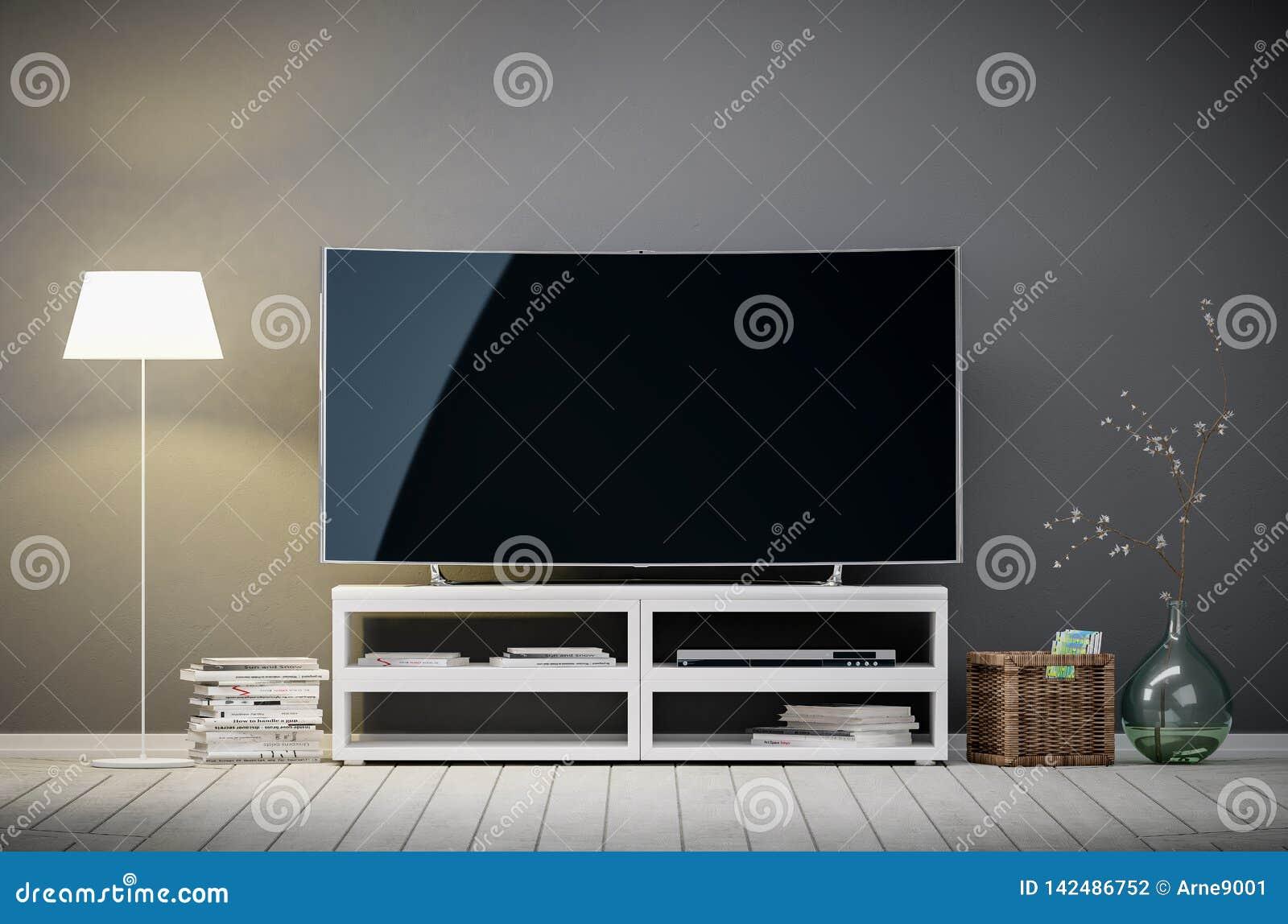 Exposição da tevê com a tela vazia na sala de visitas