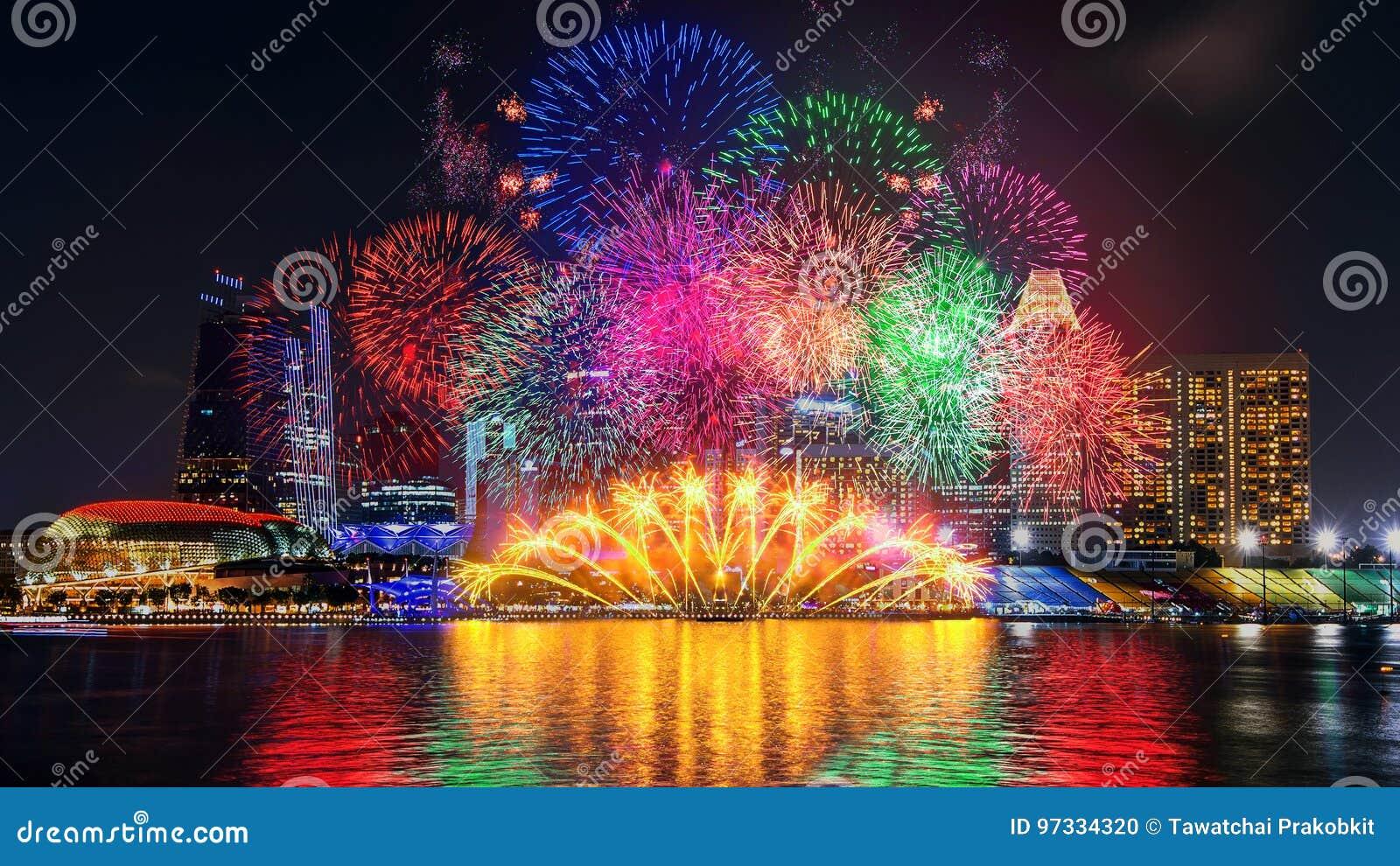 Exposição do fogo de artifício em Singapura