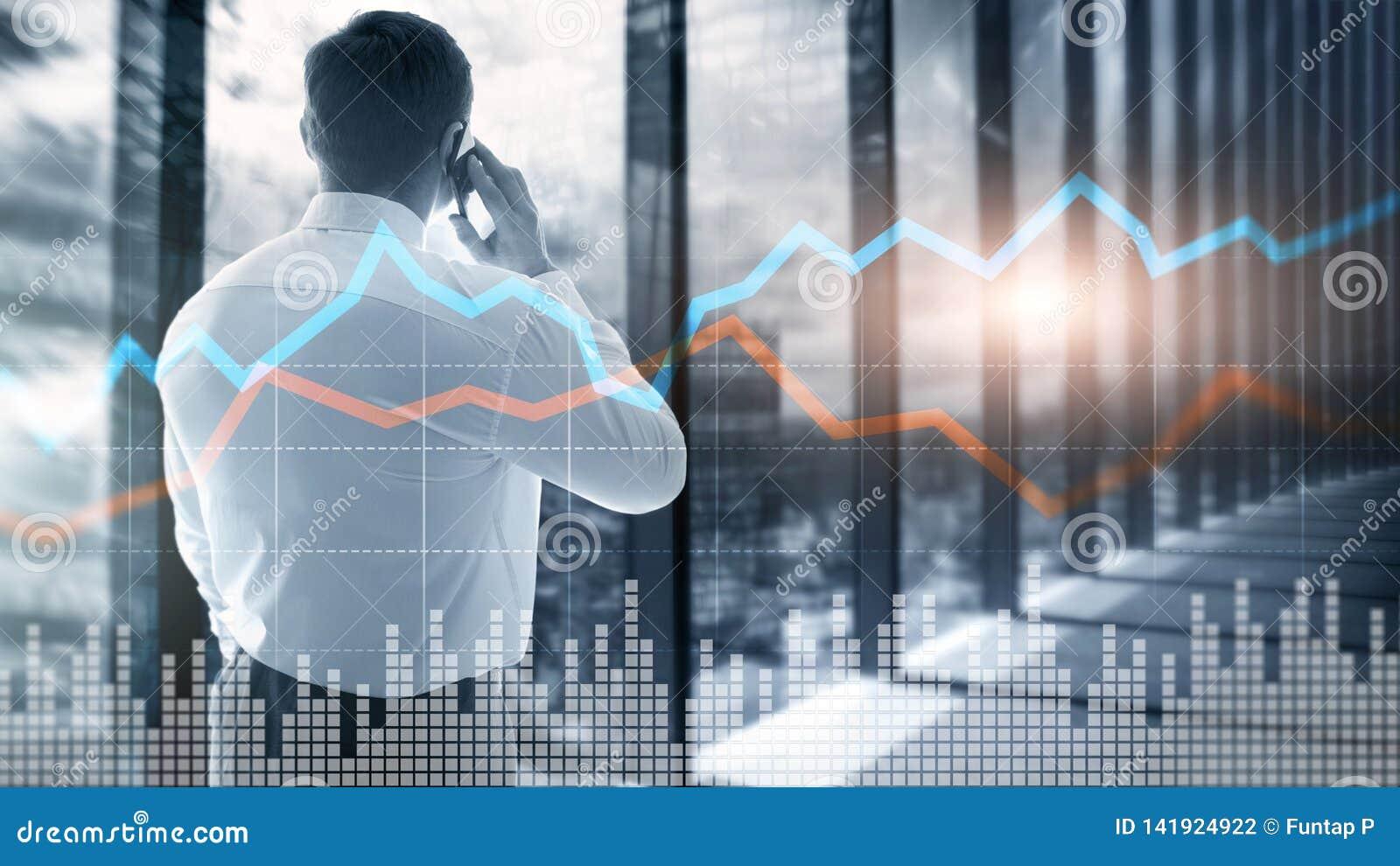 Exposição dobro financeira de tela virtual do gráfico do conceito do investimento de troca do negócio
